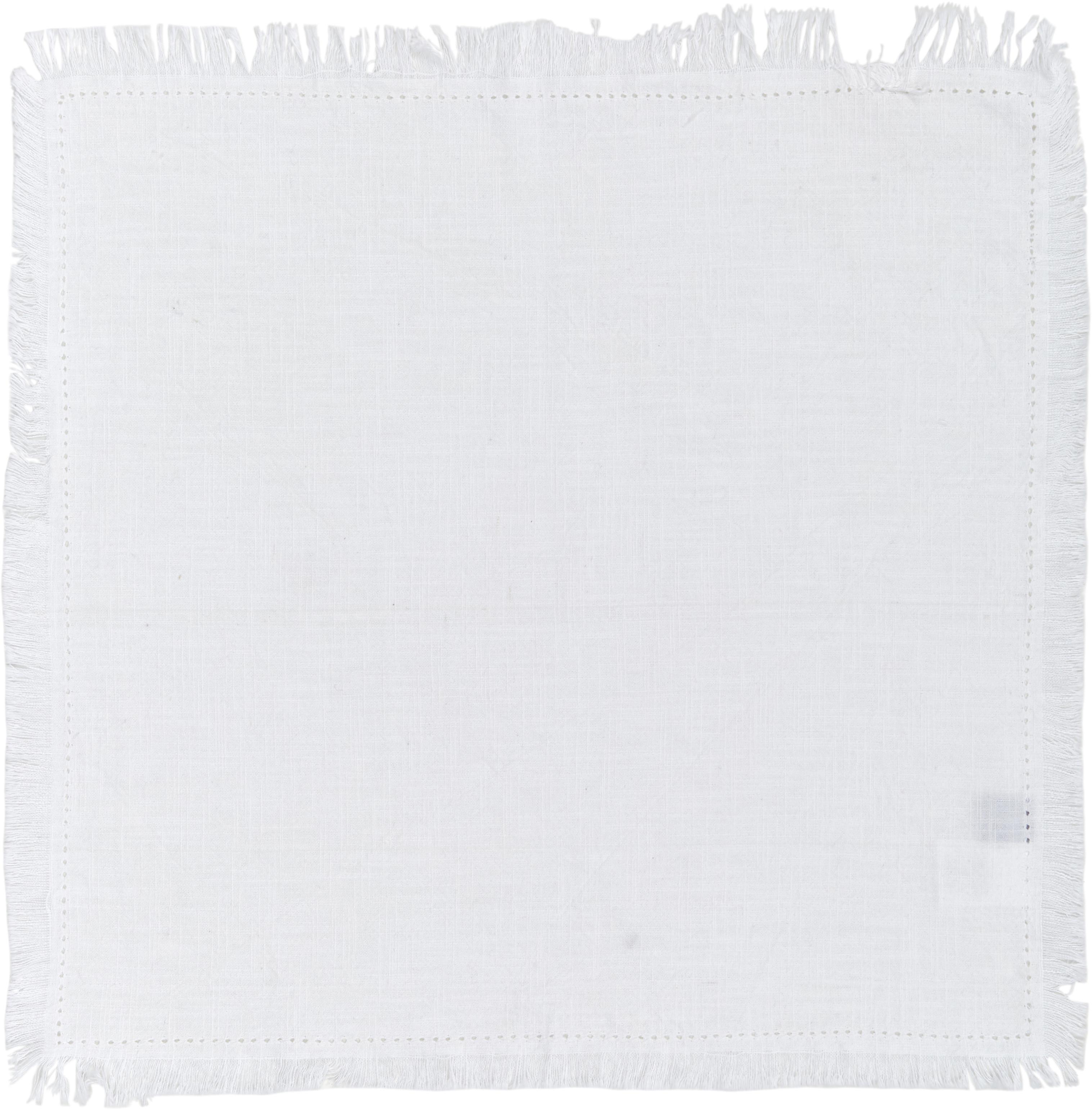 Tovagliolo in cotone Hilma con frange 2 pz, Cotone, Bianco, Larg. 45 x Lung. 45 cm