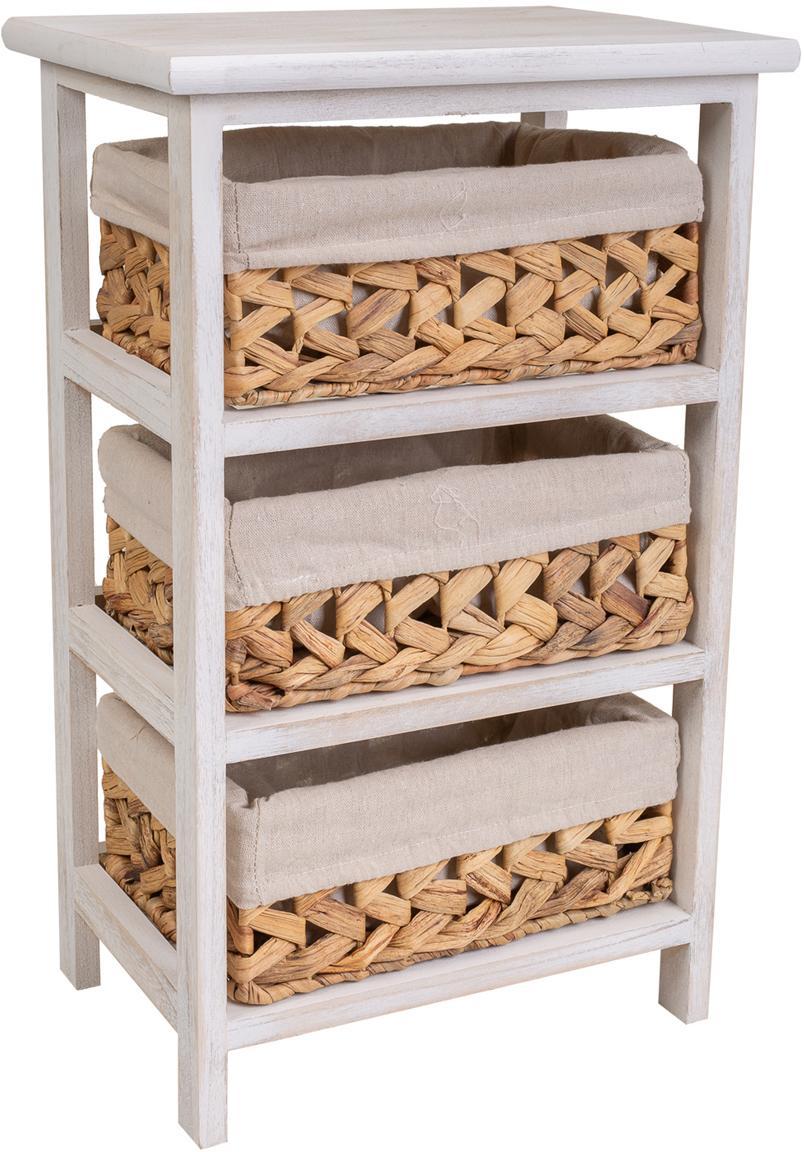 Cómoda Barbabru, Estructura: madera de paulonia, Interior: tejido, Blanco, An 35 x Al 57 cm