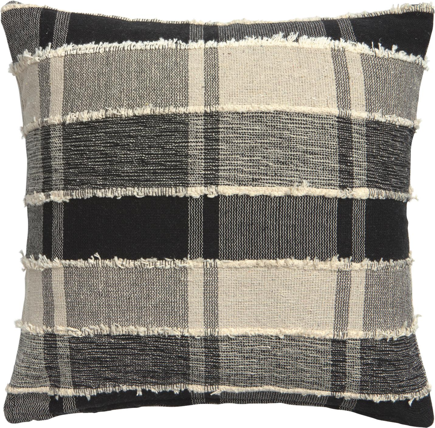 Funda de cojín con flecos Roberto, 100%algodón, Beige, negro, An 45 x L 45 cm