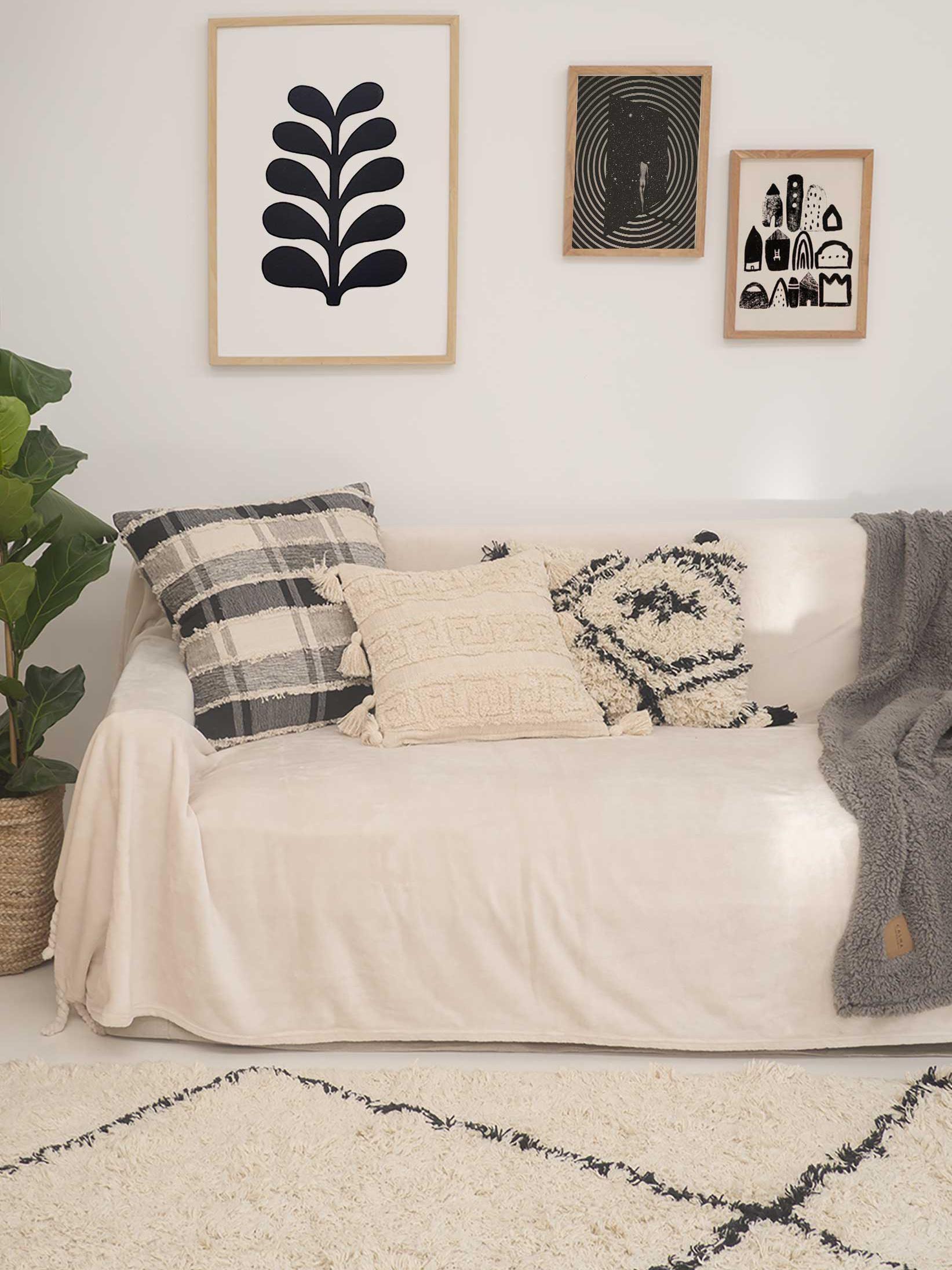 Geruite kussenhoes Roberto met franjes, 100% katoen, Beige, zwart, 45 x 45 cm