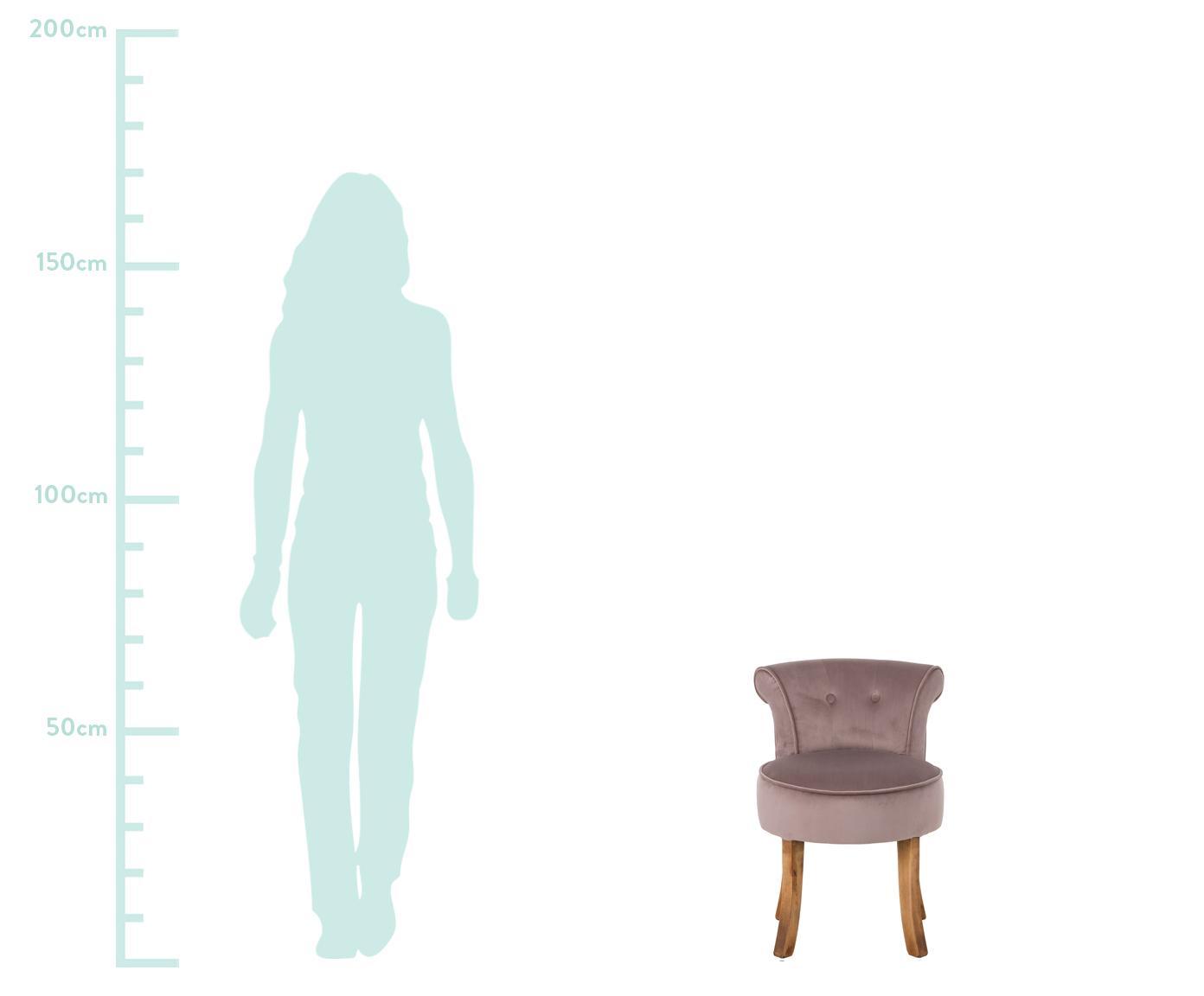 Samt-Hocker Alison mit Rückenlehne, Bezug: Baumwollsamt, Gestell: Holz, Füße: Birkenholz, lackiert, Bezug: Rose.  Beine: Dunkles Holz, 48 x 65 cm