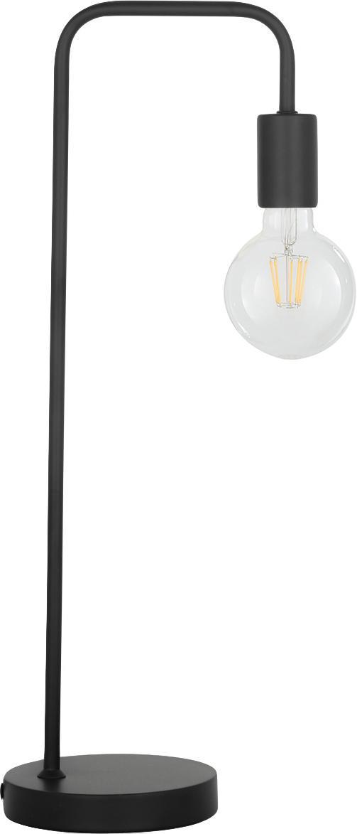 Lámpara de escritorio de metal Flow, Estructura: metal con pintura en polv, Cable: cubierto en tela, Negro, An 22 x Al 56 cm