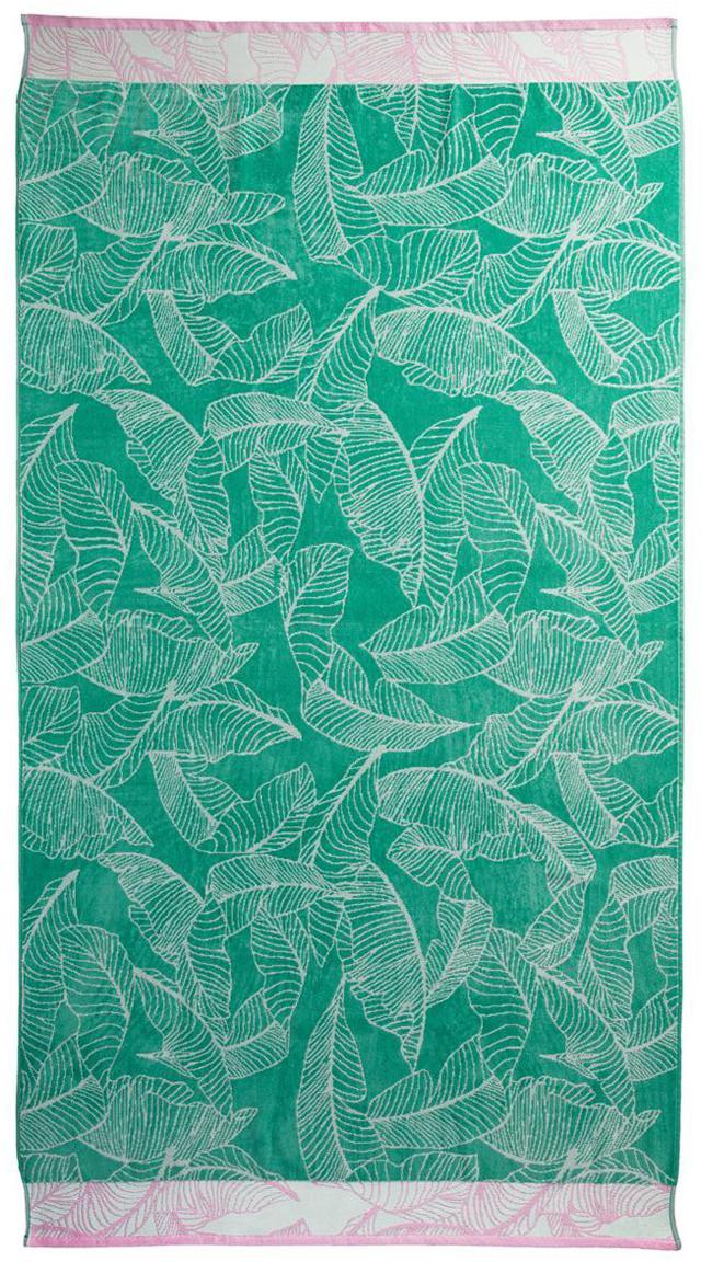 Strandtuch Fresh Mint mit Blattmuster, 100% Baumwolle, Grün, Rosa, Weiss, 100 x 180 cm