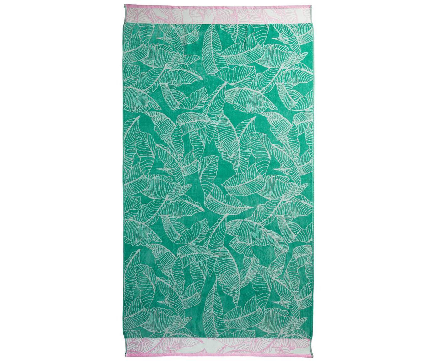 Telo mare Fresh Mint, Cotone, Verde, rosa, bianco, Larg. 100 x Lung. 180 cm