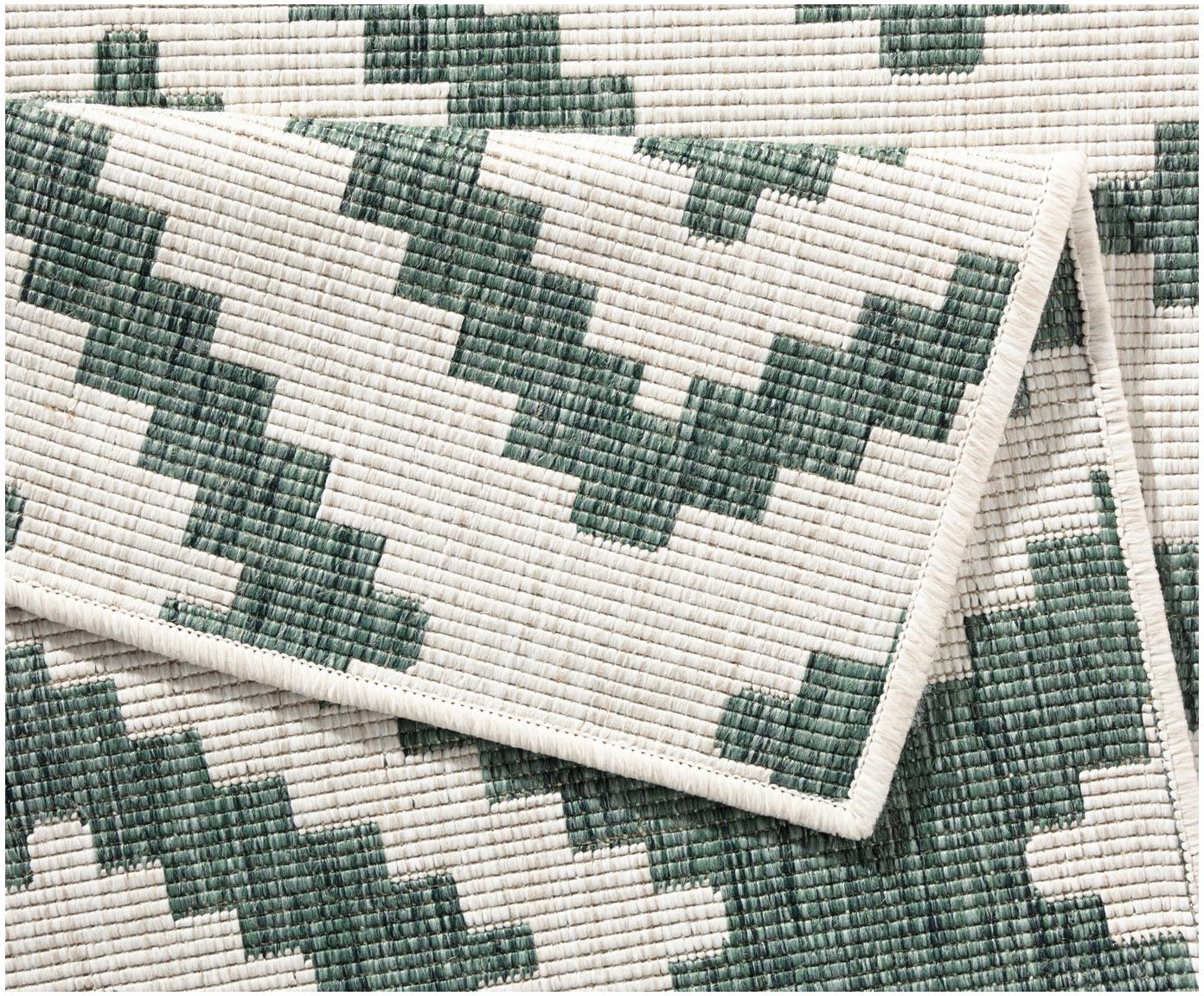 Alfombra reversible de interior/exterior Malta, Verde, crema, An 80 x L 250 cm