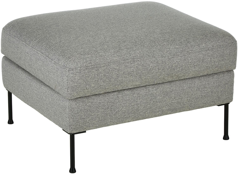 Poggiapiedi contenitore da divano Cucita, Rivestimento: tessuto (poliestere) 45.0, Struttura: legno di pino massiccio, Piedini: metallo, dipinto, Grigio chiaro, Larg. 85 x Alt. 42 cm