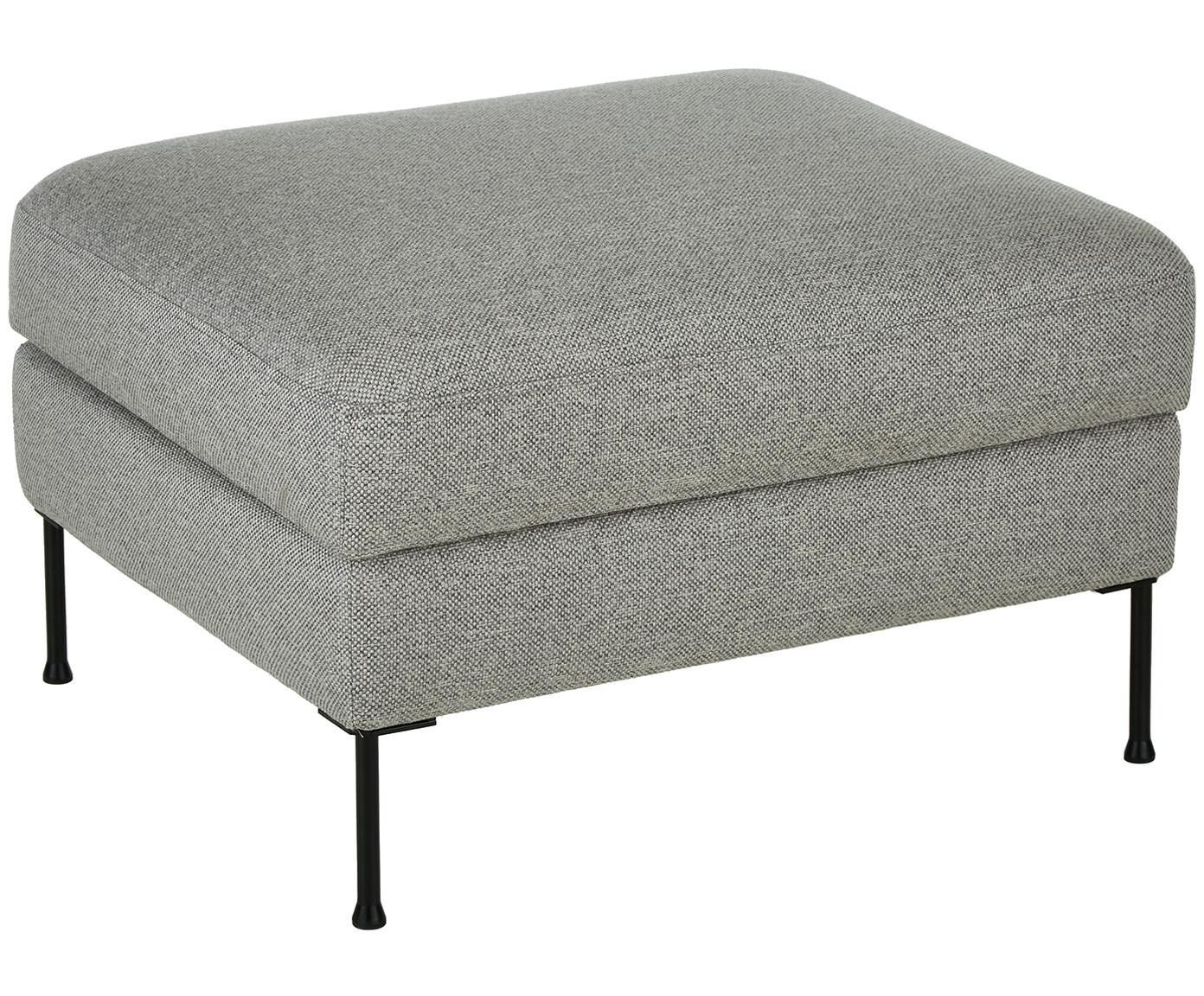 Sofa-Hocker Cucita mit Stauraum, Bezug: Webstoff (Polyester) 45.0, Gestell: Massives Kiefernholz, Füße: Metall, lackiert, Hellgrau, 85 x 42 cm