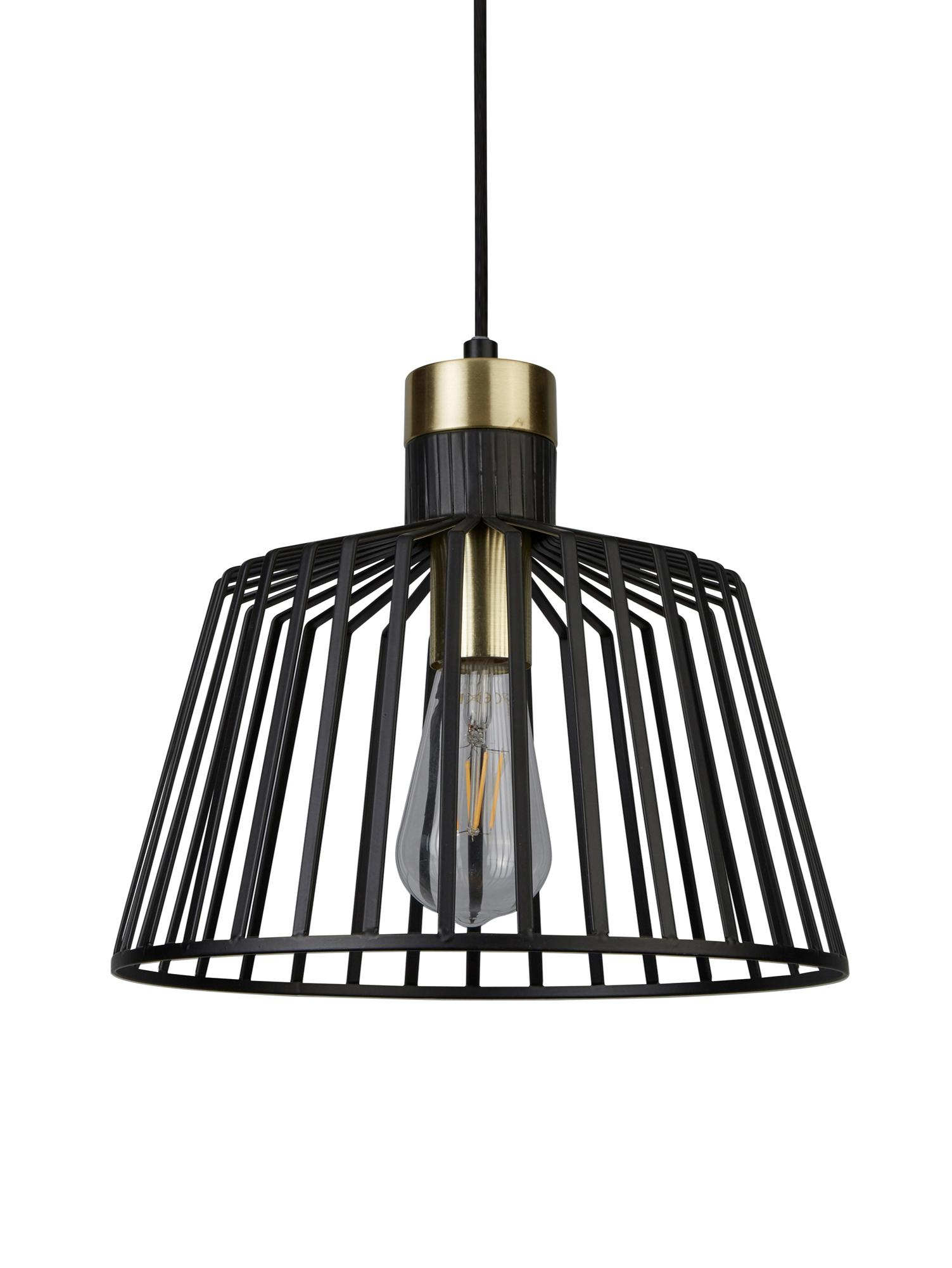 Pendelleuchte Bird Cage, Metall, beschichtet, Schwarz, Goldfarben, Ø 30 x H 27 cm