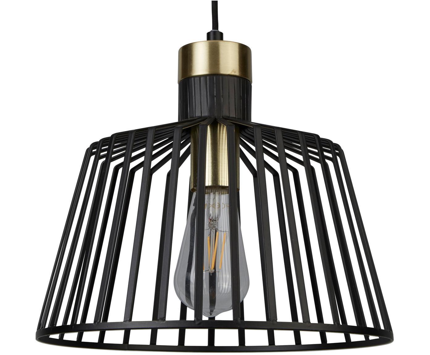 Hanglamp Bird Cage, Gecoat metaal, Zwart, goudkleurig, Ø 30 x H 27 cm