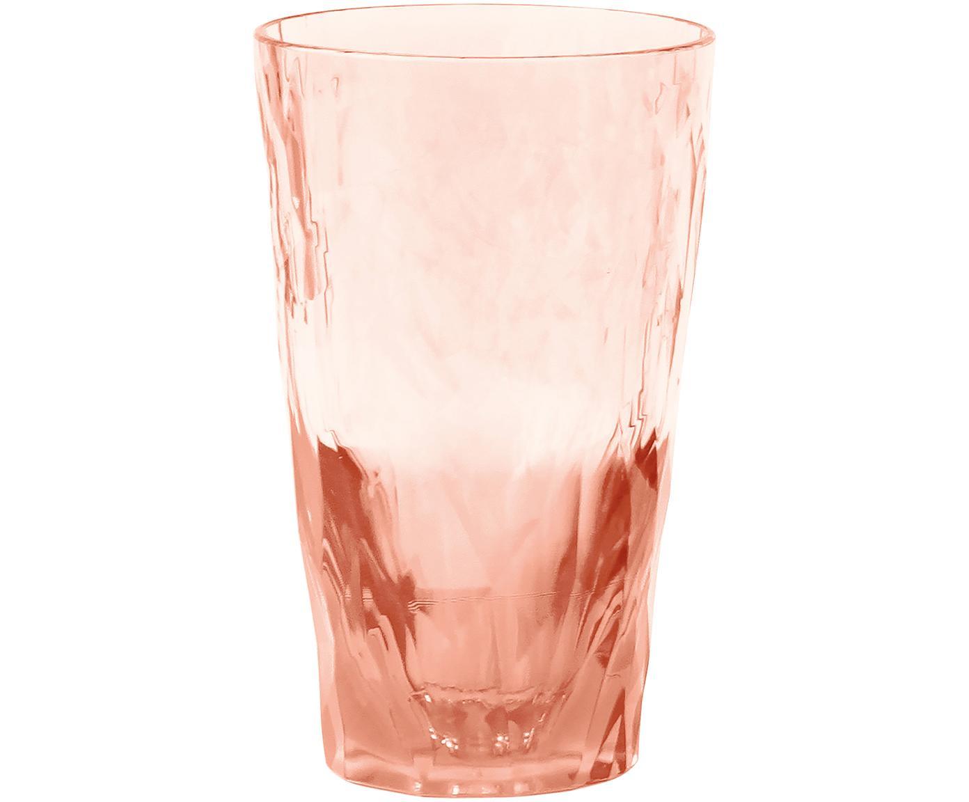Bicchieri tipo long drink in materiale sintetico infrangibile Club, Materiale sintetico termoplastico (Superglass), Rosa quarzo trasparente, Ø 9 x Alt. 14 cm