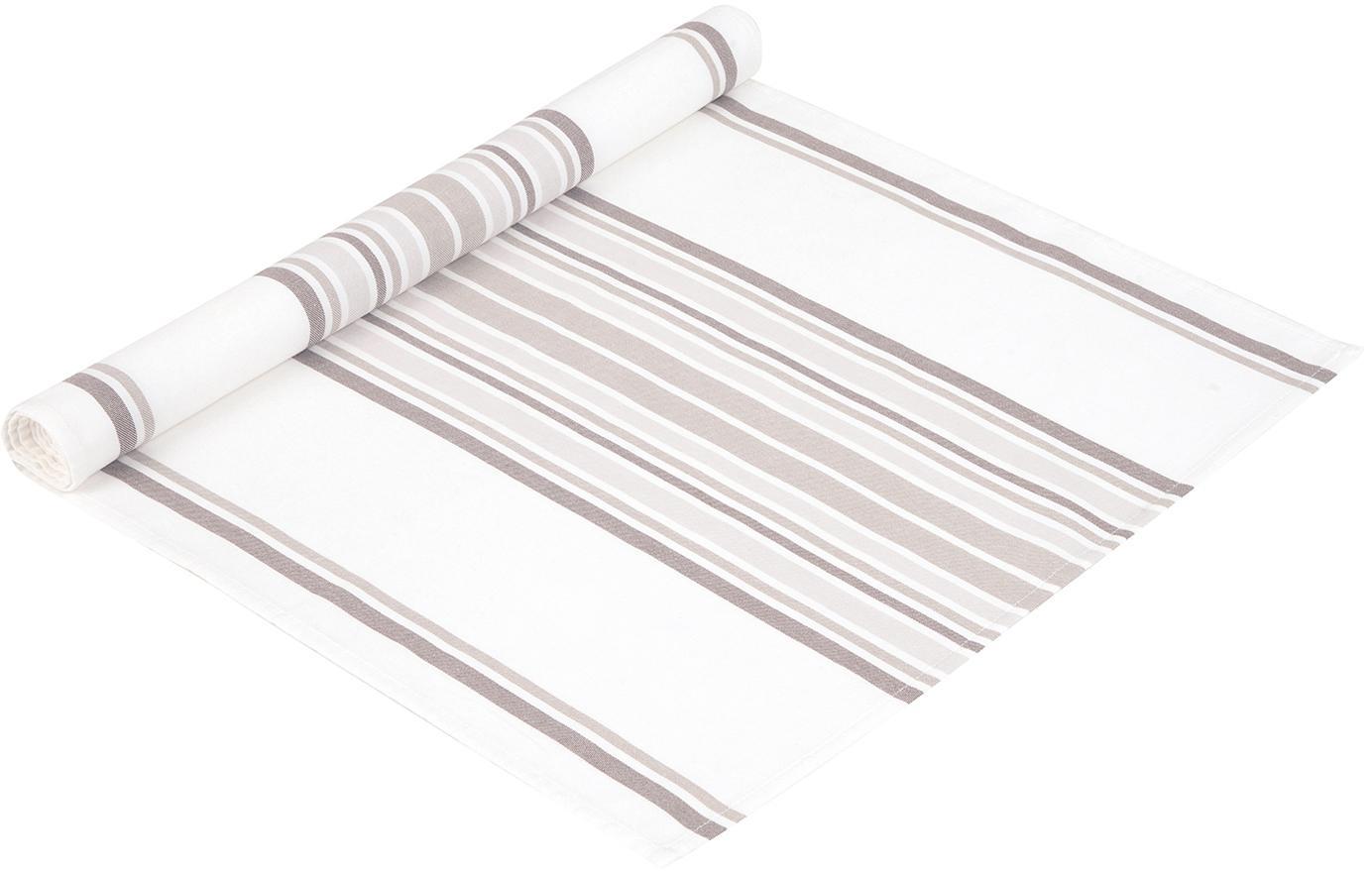 Camino de mesa Katie, Algodón, Blanco, beige, An 50 x L 150 cm