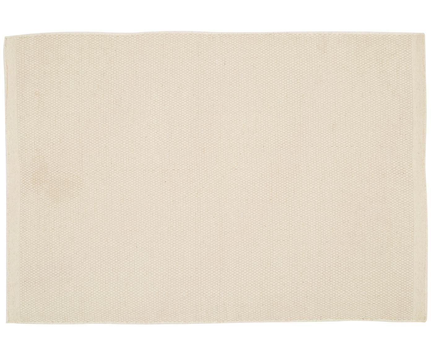 Handgeweven wollen vloerkleed Delight in wolwit, Bovenzijde: 90% wol, 10% katoen, Onderzijde: katoen, Wolwit, B 200 x L 300 cm (maat L)