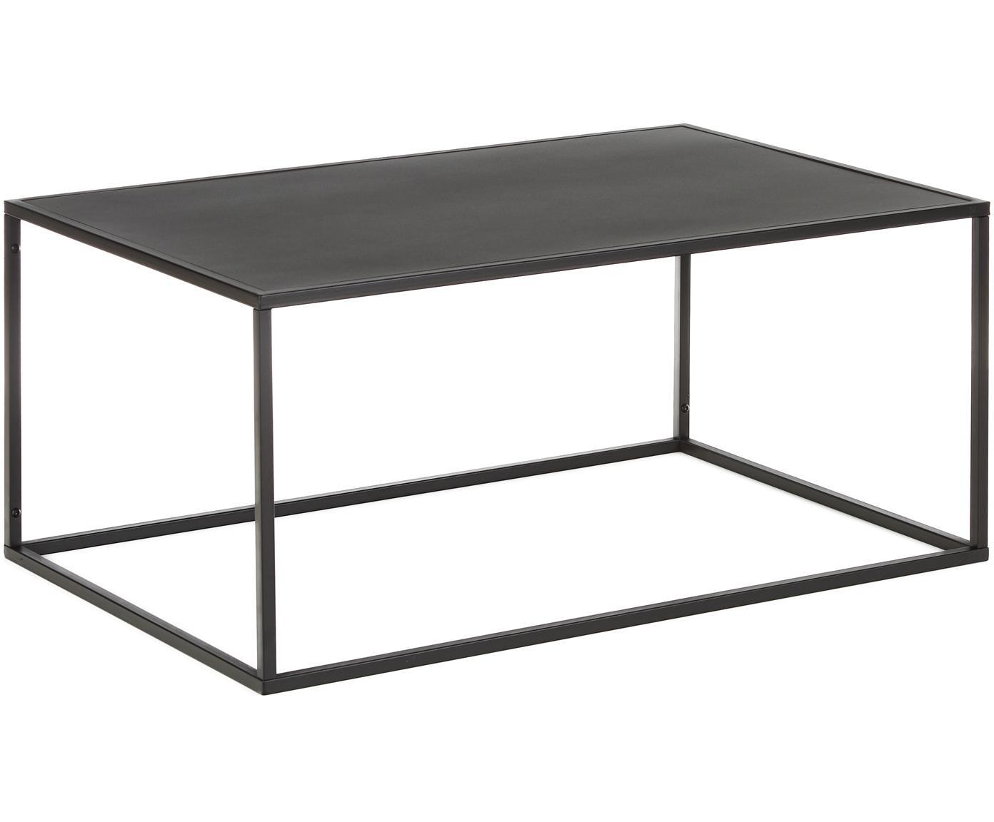 Tavolino da salotto in metallo nero Newton, Metallo verniciato a polvere, Nero, Larg. 90 x Prof. 60 cm