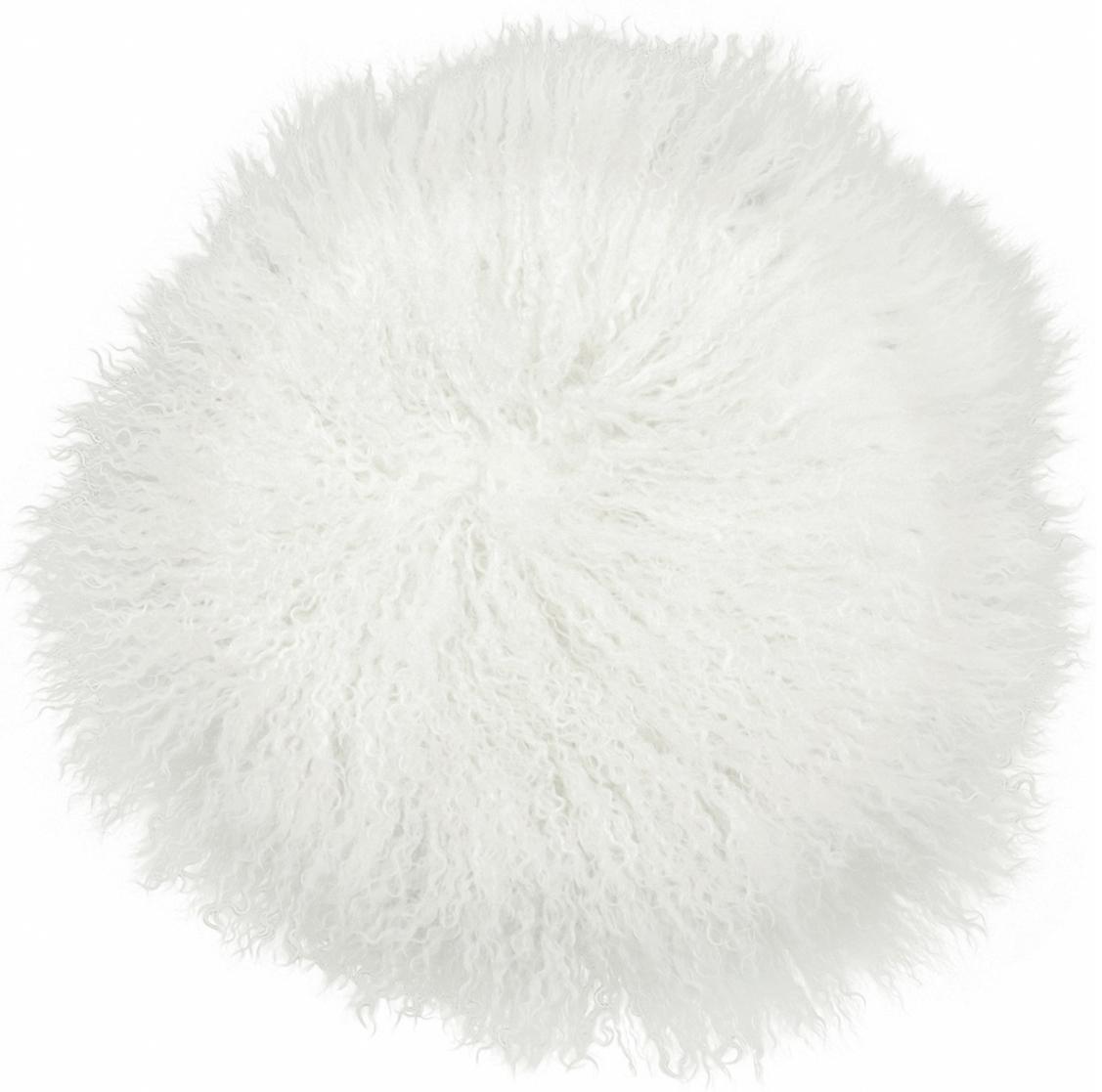 Cuscino sedia in pelliccia d'agnello a pelo lungo Ella, riccio, Retro: 100% poliestere, Bianco naturale, Ø 37 cm