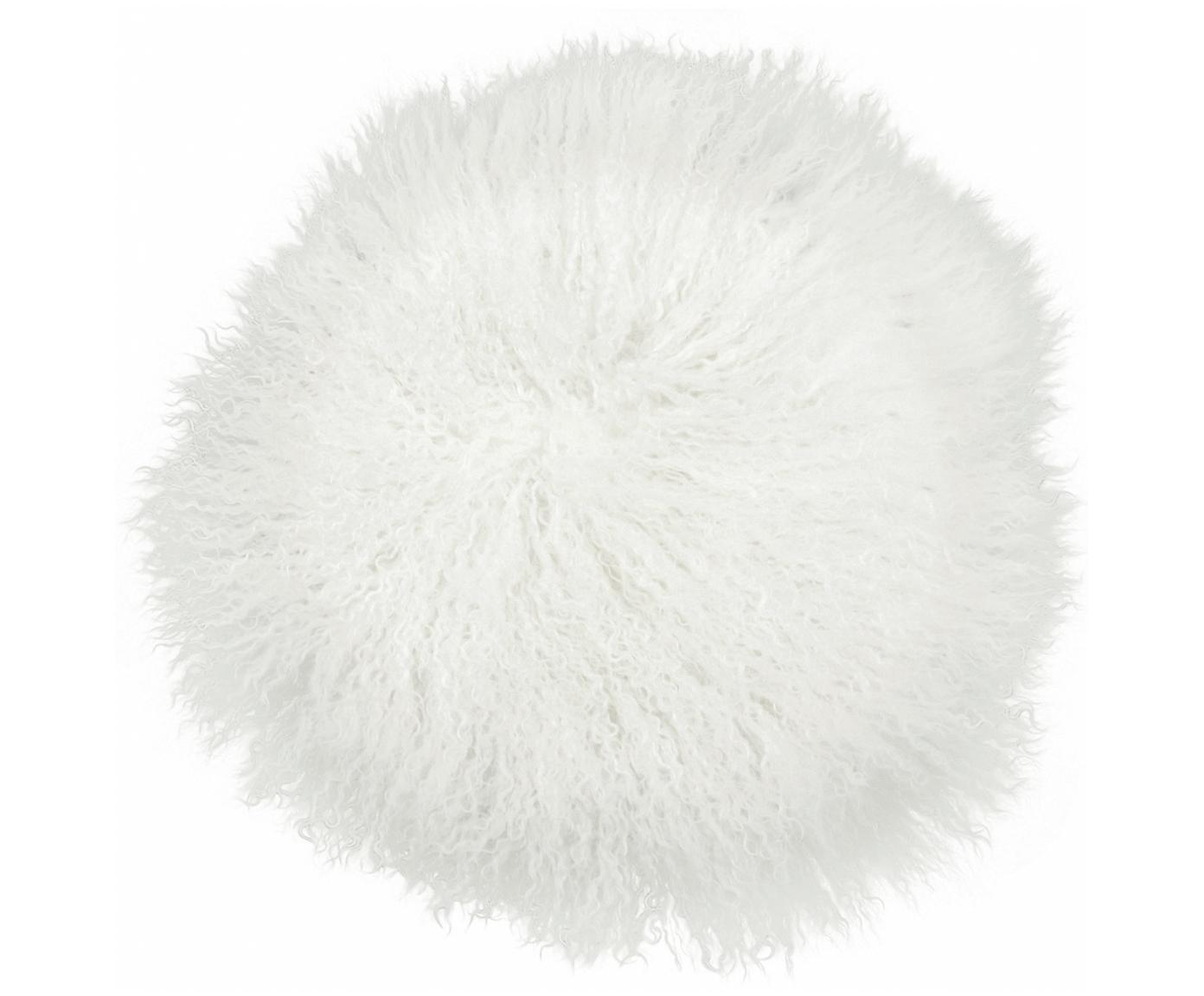 Rond zitkussen van langharige schapenvacht Ella, gekruld, Bovenzijde: 100% Mongoolse schapenvac, Onderzijde: 100% polyester, Gebroken wit, Ø 37 cm