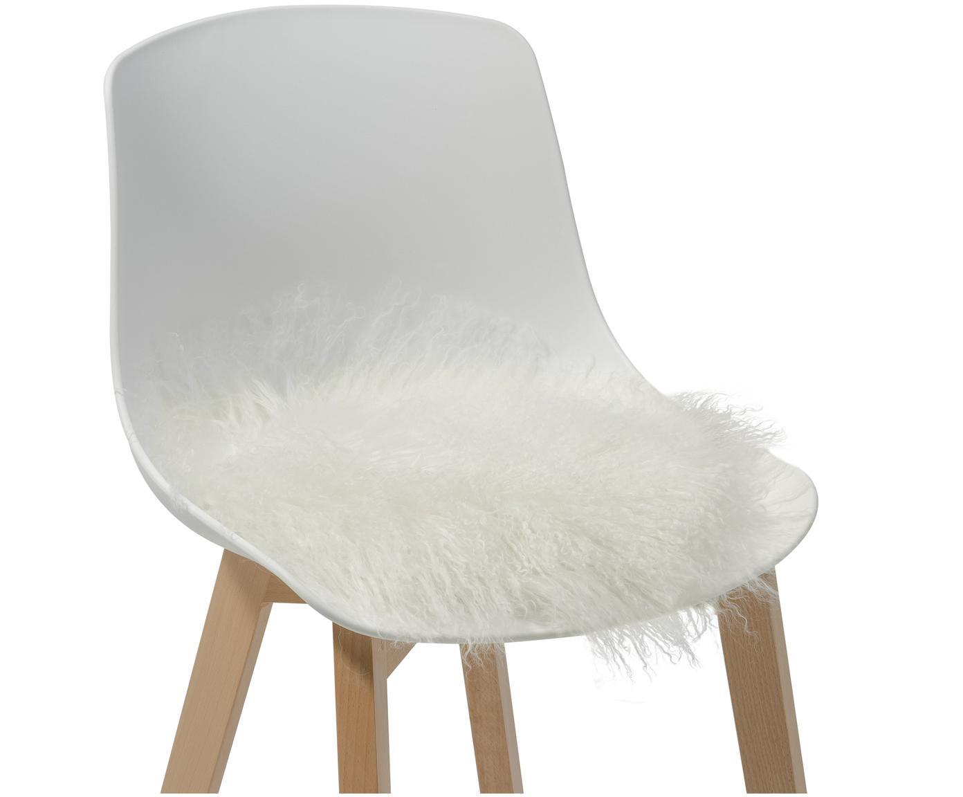 Galette de chaise ronde en peau d'agneau à longs poils frisés Ella, Blanc naturel