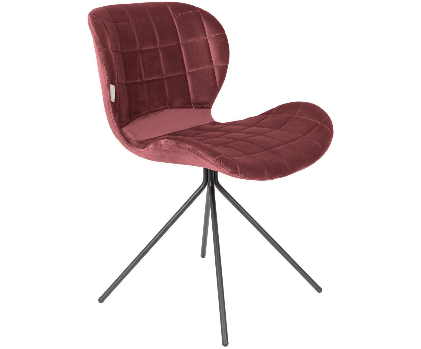 Fluwelen stoel OMG, Bekleding: polyester fluweel, Frame: gepoedercoat staal, Frame: multiplex, Bekleding: roze. Poten: zwart, 51 x 80 cm