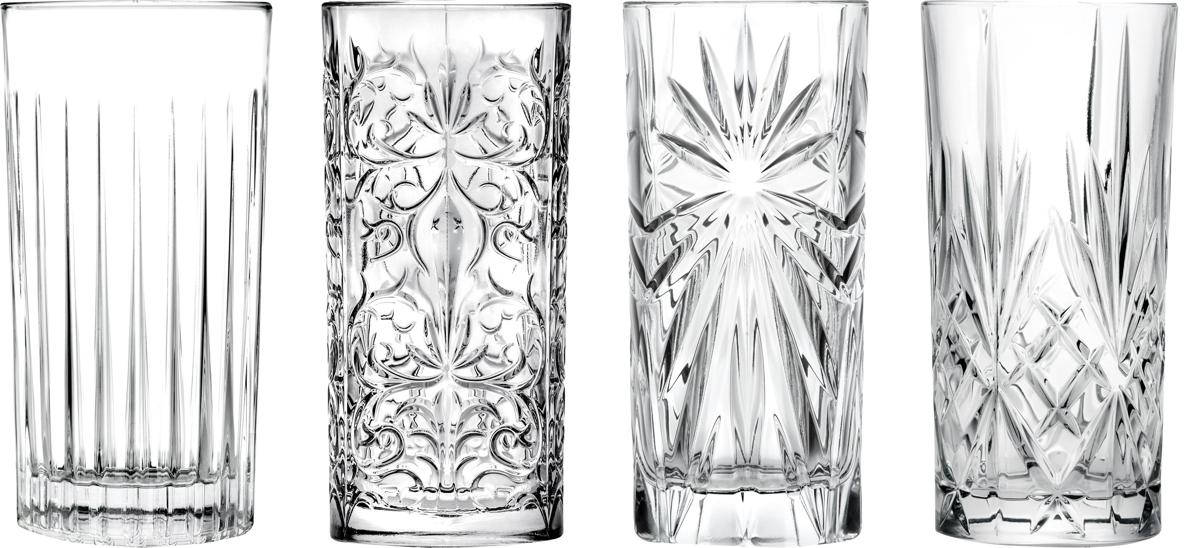 Vasos highball de cristal Bichiera, 4uds., Cristal, Transparente, Ø 7 x Al 15 cm