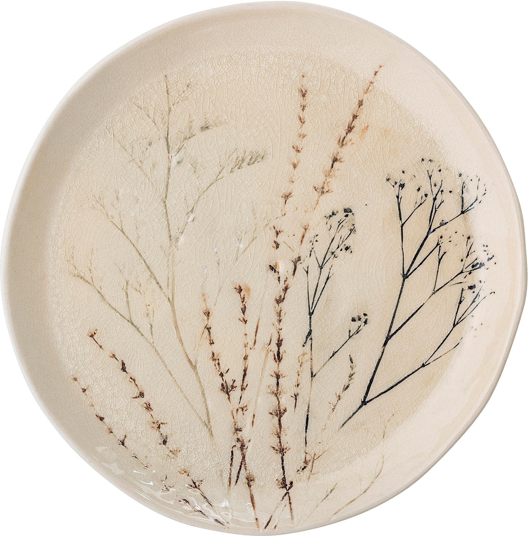 Handgemachte Servierplatte Bea mit Gräser-Motiv, Steingut, Beige, Mehrfarbig, Ø 28 x H 4 cm