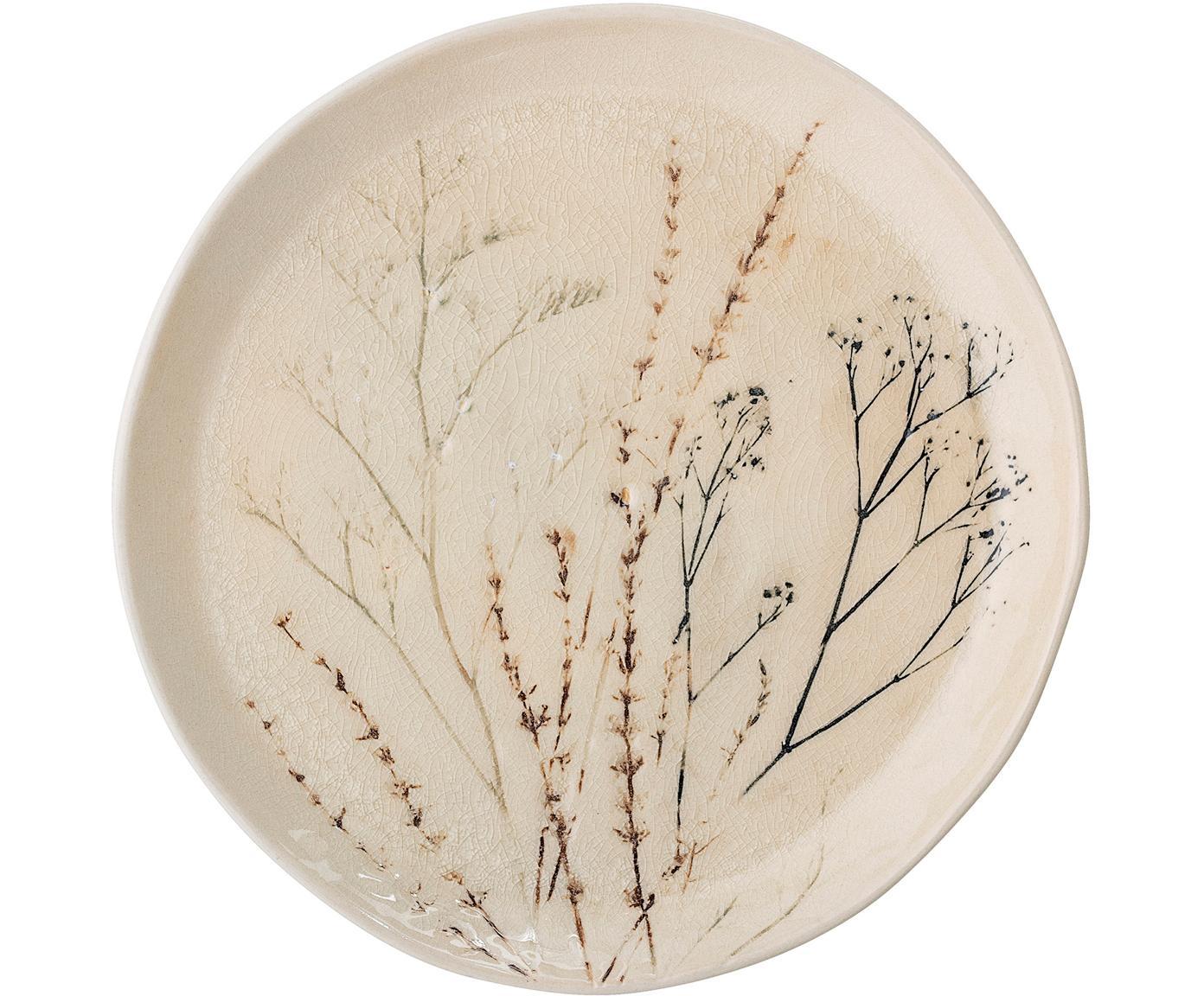 Handgefertigte Servierplatte Bea mit Gräser-Motiv, Steingut, Beige, Mehrfarbig, Ø 28 x H 4 cm