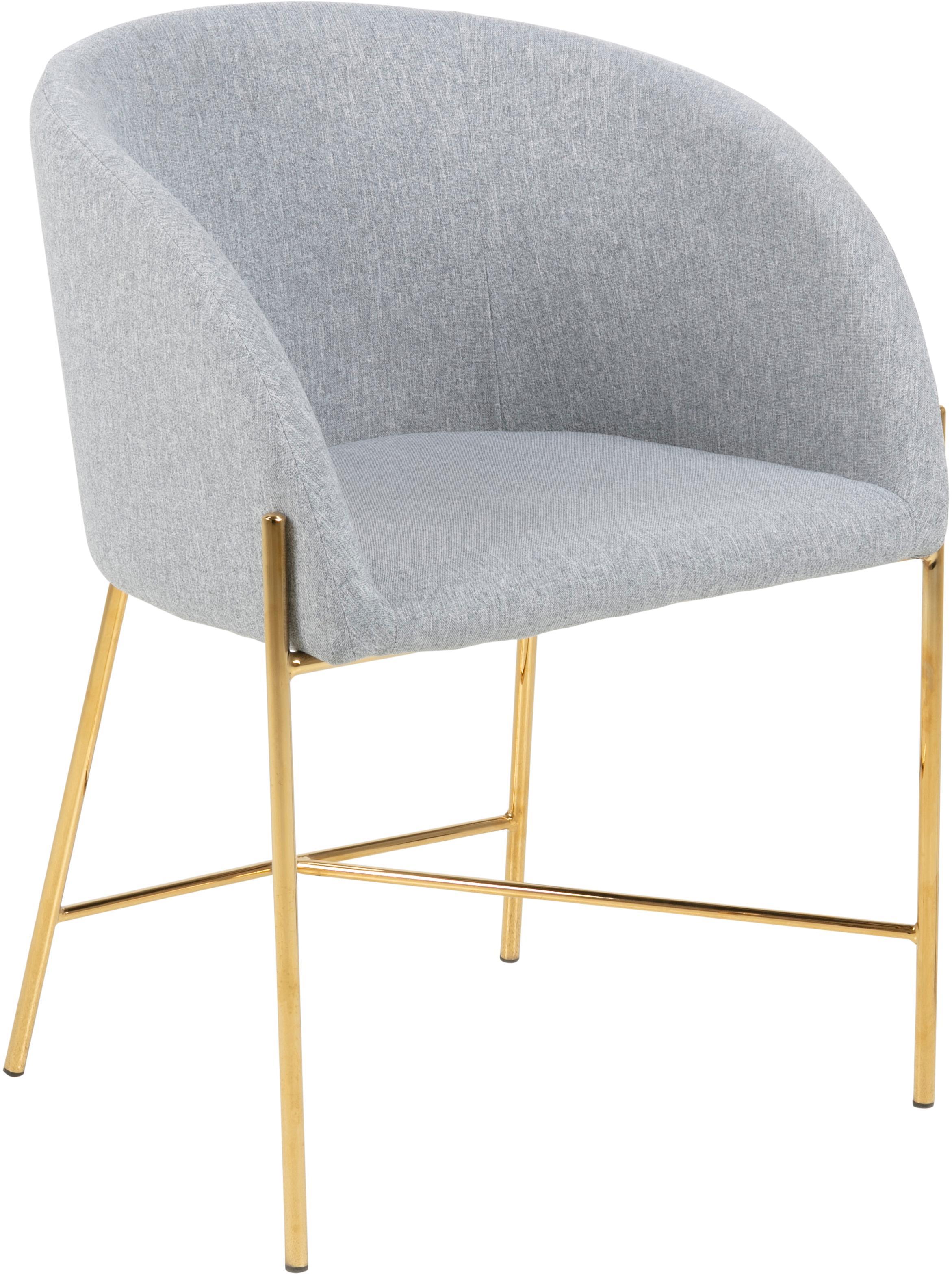 Sedia con braccioli Nelson, Rivestimento: poliestere 25.000 cicli d, Gambe: metallo cromato, Tessuto grigio chiaro, gambe dorate, Lung. 56 x Prof. 54 cm