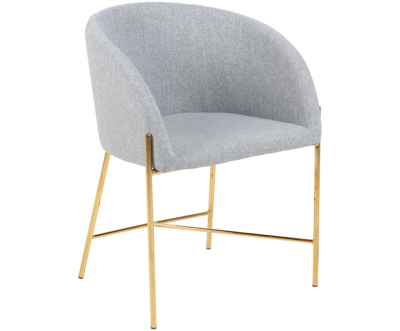 Krzesło z podłokietnikami Nelson, Tapicerka: poliester 25 000 cykli w , Nogi: metal chromowany, Jasny szary, nogi: złote, S 56 x G 54 cm