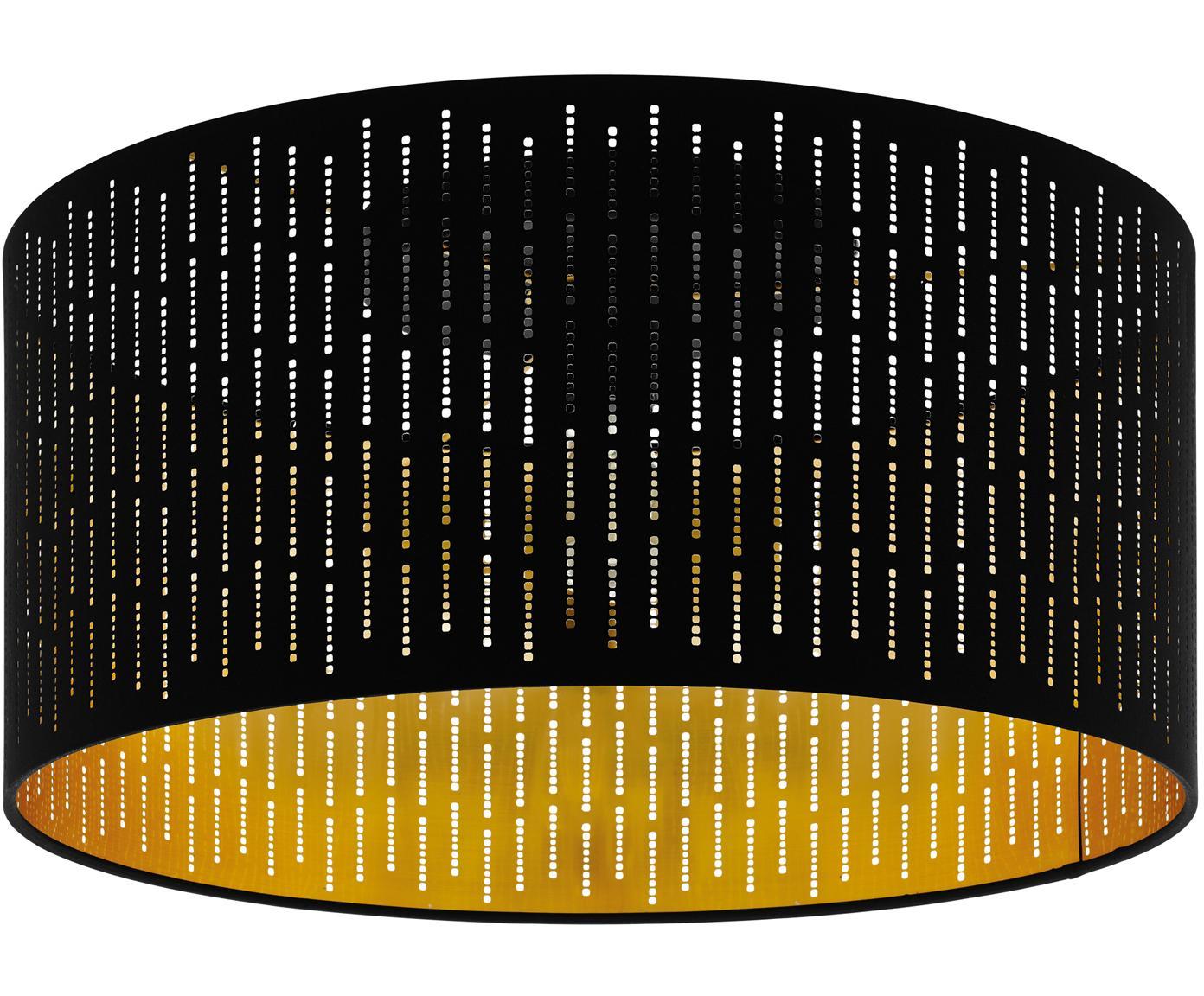 Plafón Varillas, Pantalla: poliéster, Estructura: acero, Negro, dorado, Ø 48 x Al 30 cm