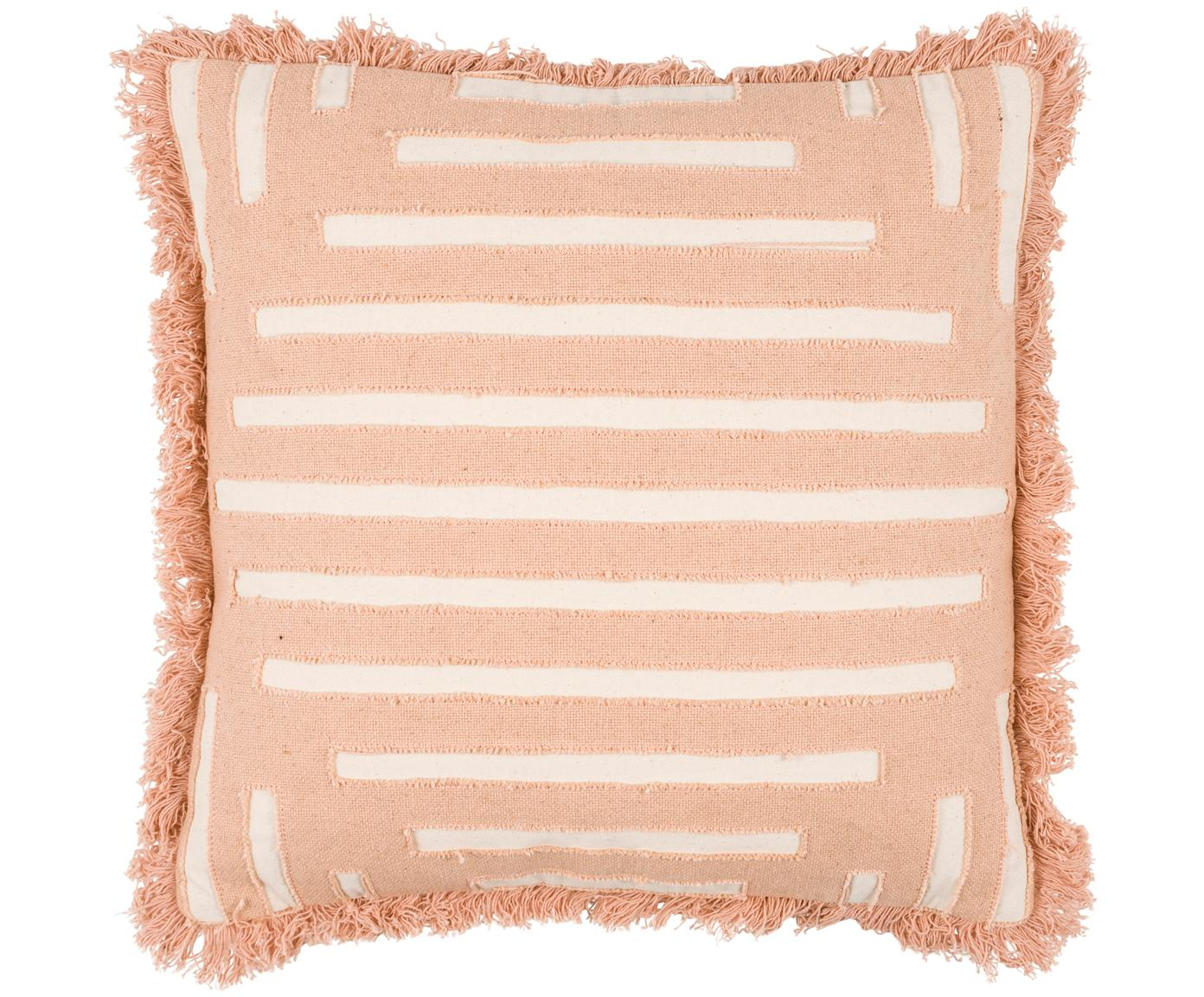 Kissen Ayana mit Fransen, mit Inlett, Bezug: 100% Baumwolle, Terrakotta, Creme, 45 x 45 cm