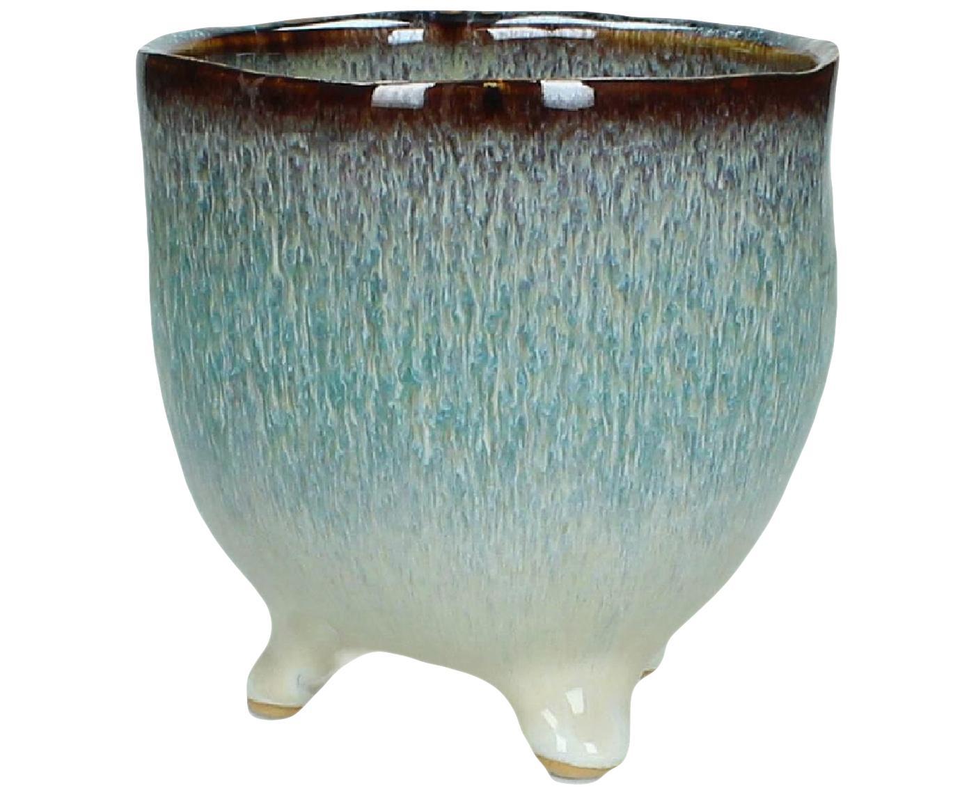 Osłonka na doniczkę Blue Lagoon, Kamionka, Turkusowy, beżowy, brązowy, Ø 12 x W 12 cm