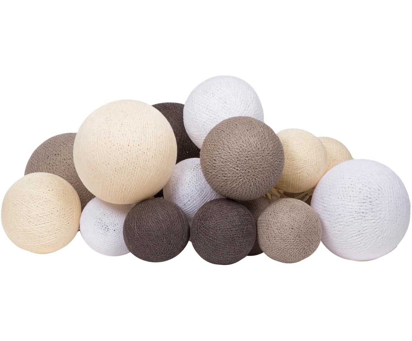 LED Lichterkette Moodi, Lampions: Polyester, Beige- und Brauntöne, Weiß, L 264 cm