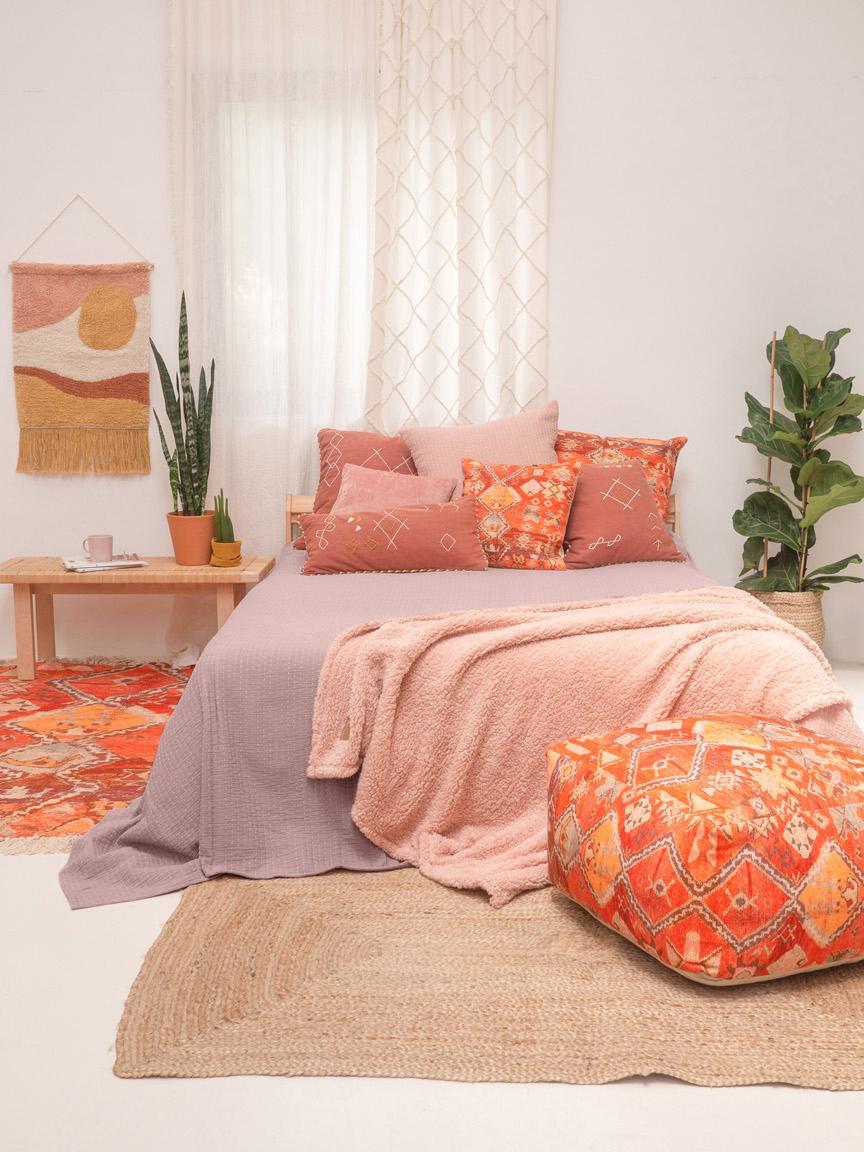 Narzuta Agata, 100% bawełna, Blady różowy, S 180 x D 260 cm