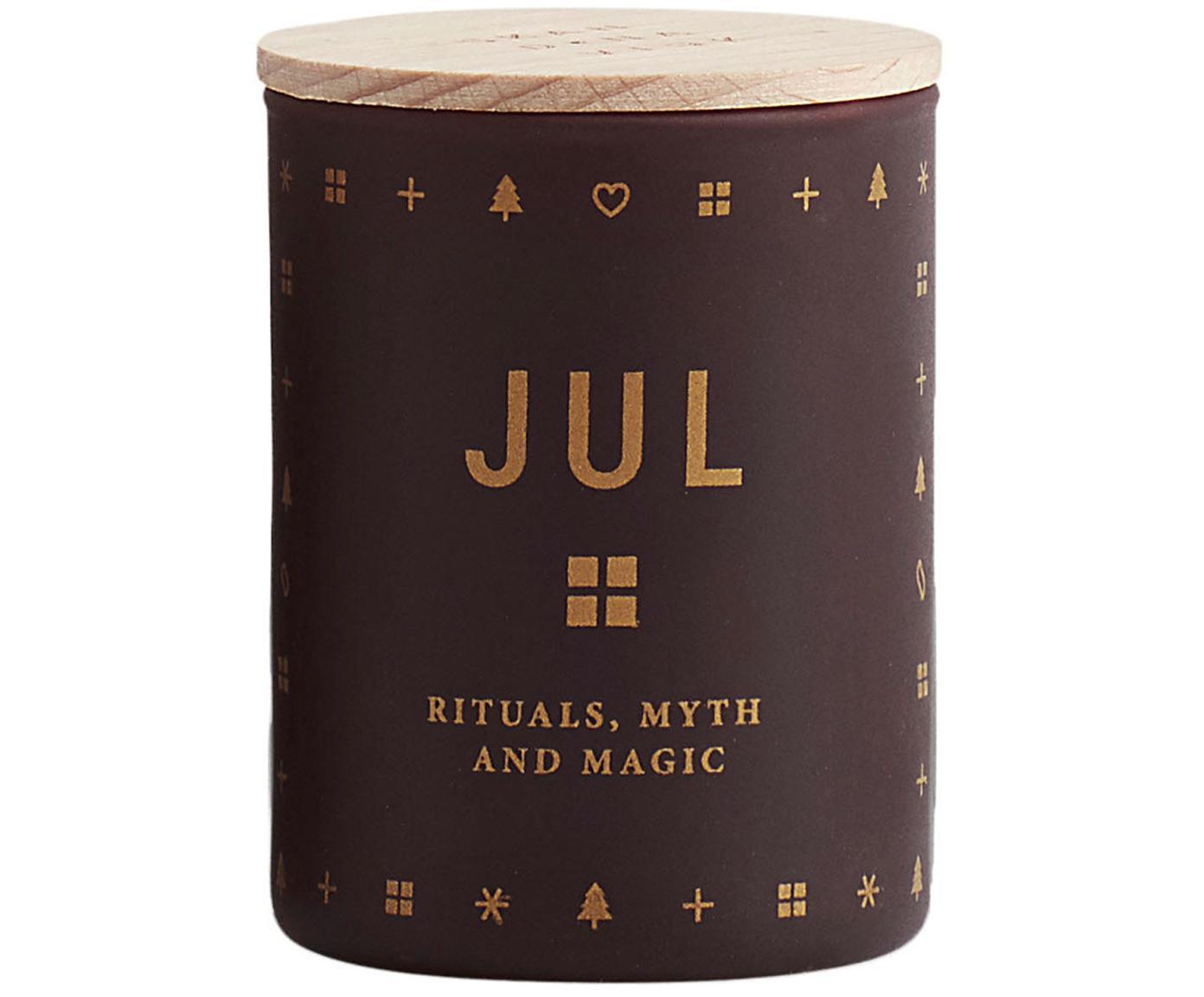 Geurkaars Jul (peperkoek, honing & kruidnagel), Houder: glas, Deksel: beukenhout, Bordeauxrood. Deksel: beukenhoutkleurig, Ø 4 x H 6 cm