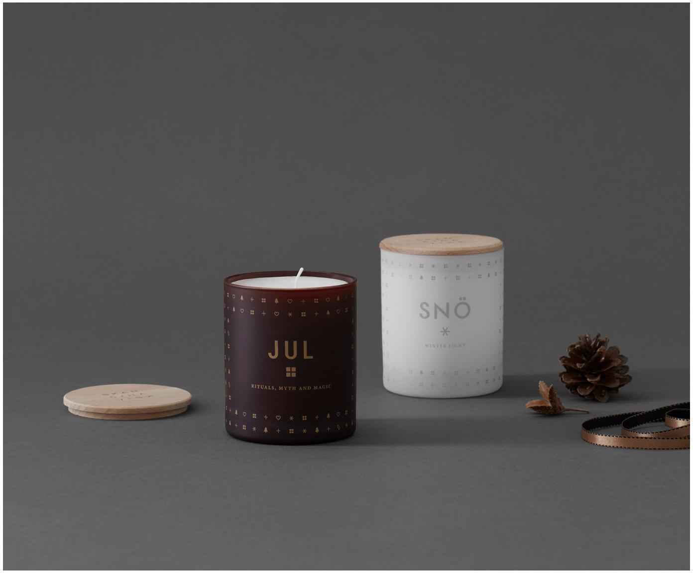 Świeca zapachowa Jul (pierniki, miód i goździki), Burgundowy pokrywka: drewno bukowe, Ø 8 x W 9 cm