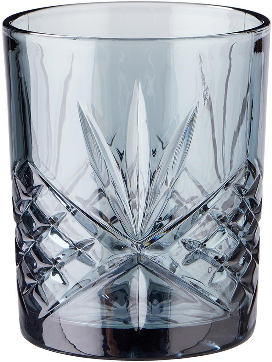 Gläser Crystal Club mit Kristallrelief, 4er-Set, Glas, Graublau, Ø 8 x H 10 cm