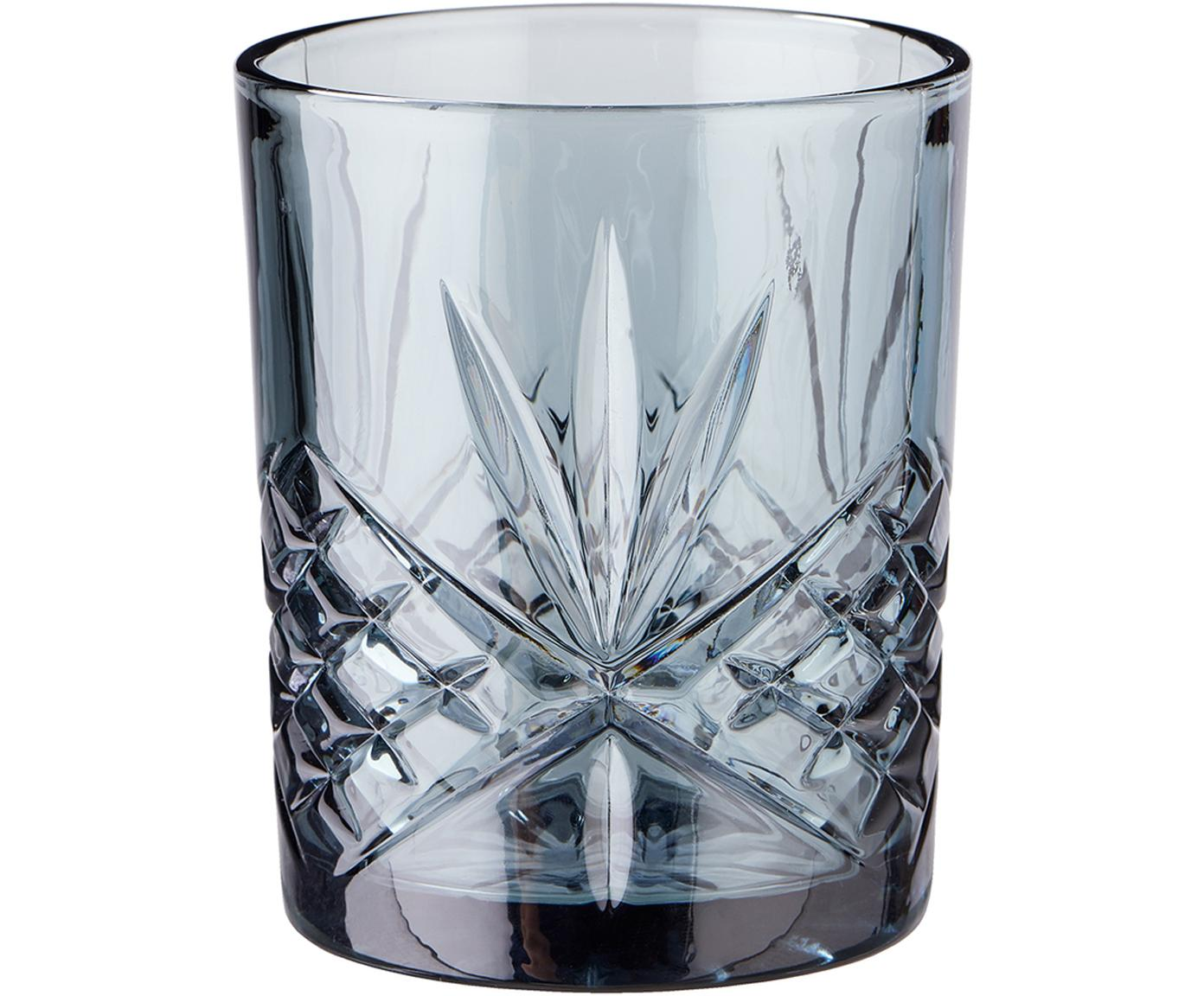 Glazen Crystal Club met kristalreliëf, 4-delig, Glas, Grijsblauw, Ø 8 cm