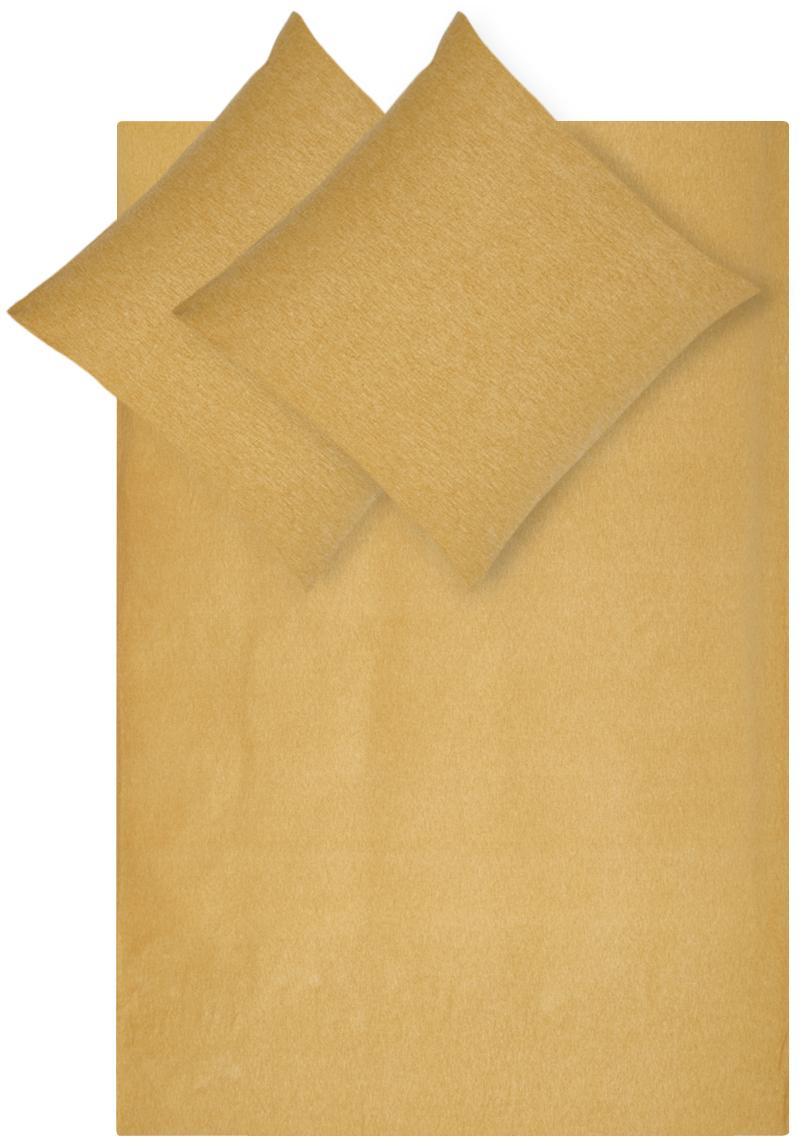 Flanellen dekbedovertrek Groove, Weeftechniek: flanel, Geel, 240 x 220 cm