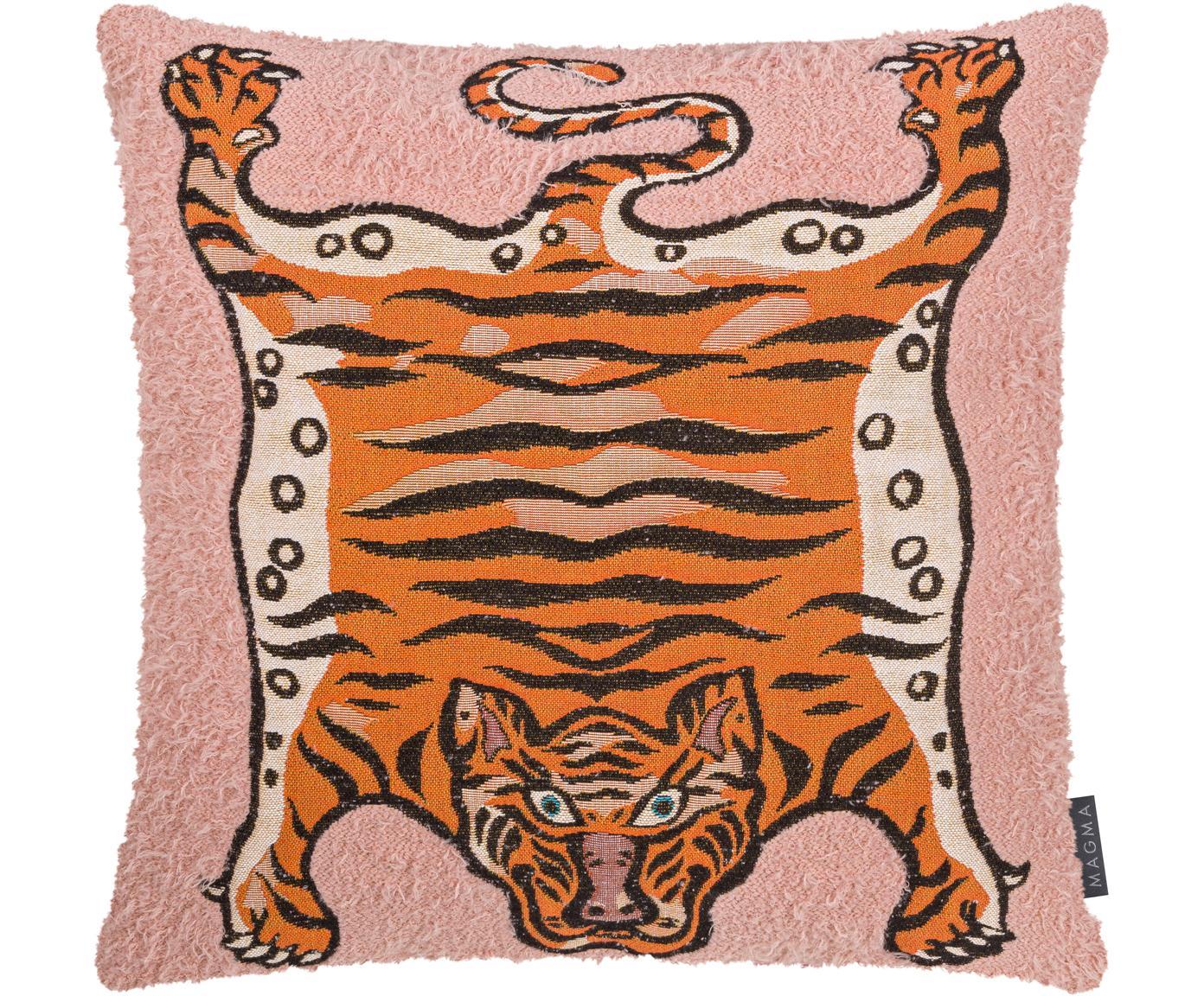 Kissenhülle Tigris, Webart: Jacquard, Rosa, Orange, Schwarz, 45 x 45 cm
