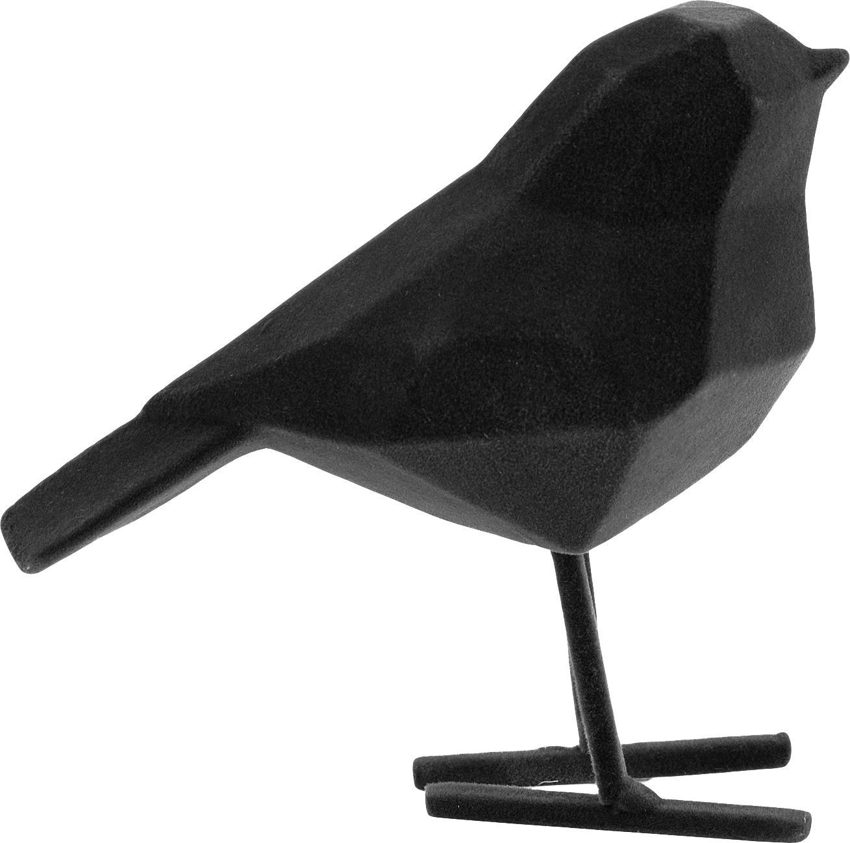 Deko-Objekt Bird mit samtiger Oberfläche, Polyresin, Schwarz, 17 x 14 cm