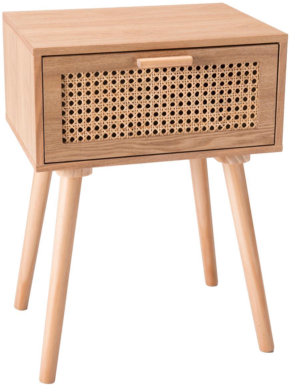 Holz-Nachttisch Romeo mit Wiener Geflecht, Korpus: Mitteldichte Holzfaserpla, Front: Rohrgeflecht, Eschenholz, 40 x 56 cm