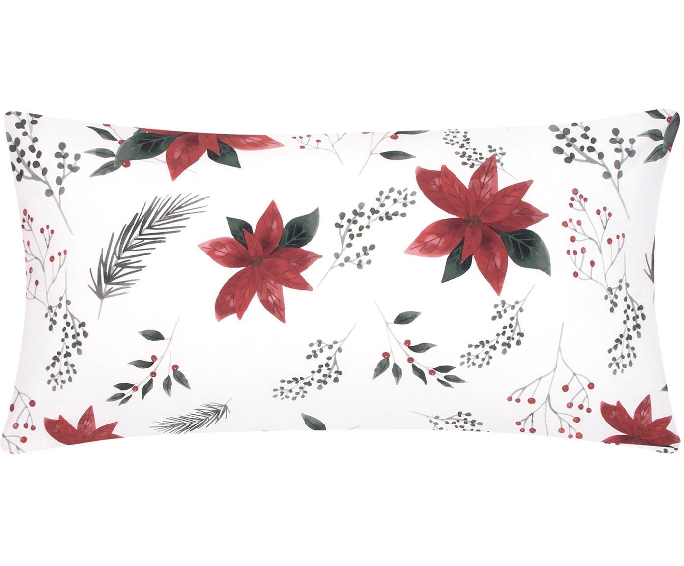 Baumwollperkal-Kissenbezüge Carol mit Amaryllis Print, 2 Stück, Webart: Perkal Perkal ist ein fei, Weiß, Rot, Grün, 40 x 80 cm