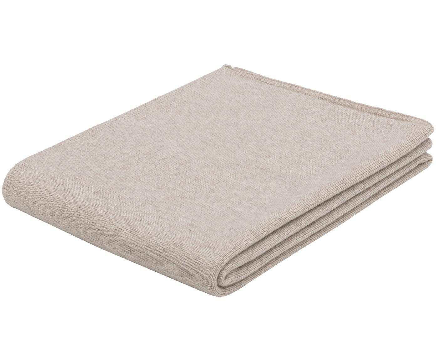Manta de cachemira finamente tejida Viviana, 70%cachemira, 30%lana merino, Beige, An 130 x L 170 cm