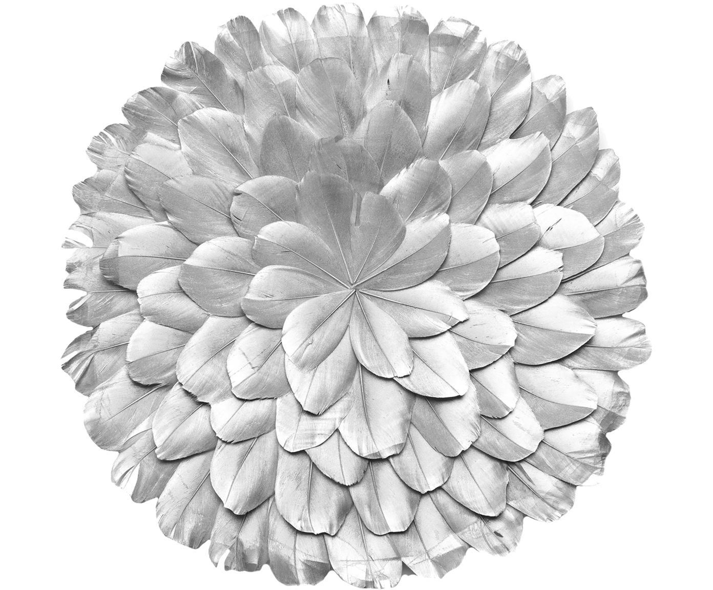 Wandobjecten Juju, 2 stuks, Geverfde veren, Zilverkleurig, Ø 25 x D 3 cm