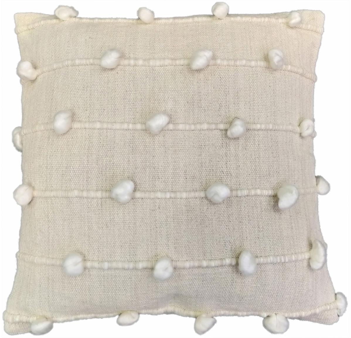 Cuscino con decori e imbottitura Bubble, Rivestimento: 100% cotone, Bianco latteo, bianco, Larg. 45 x Lung. 45 cm
