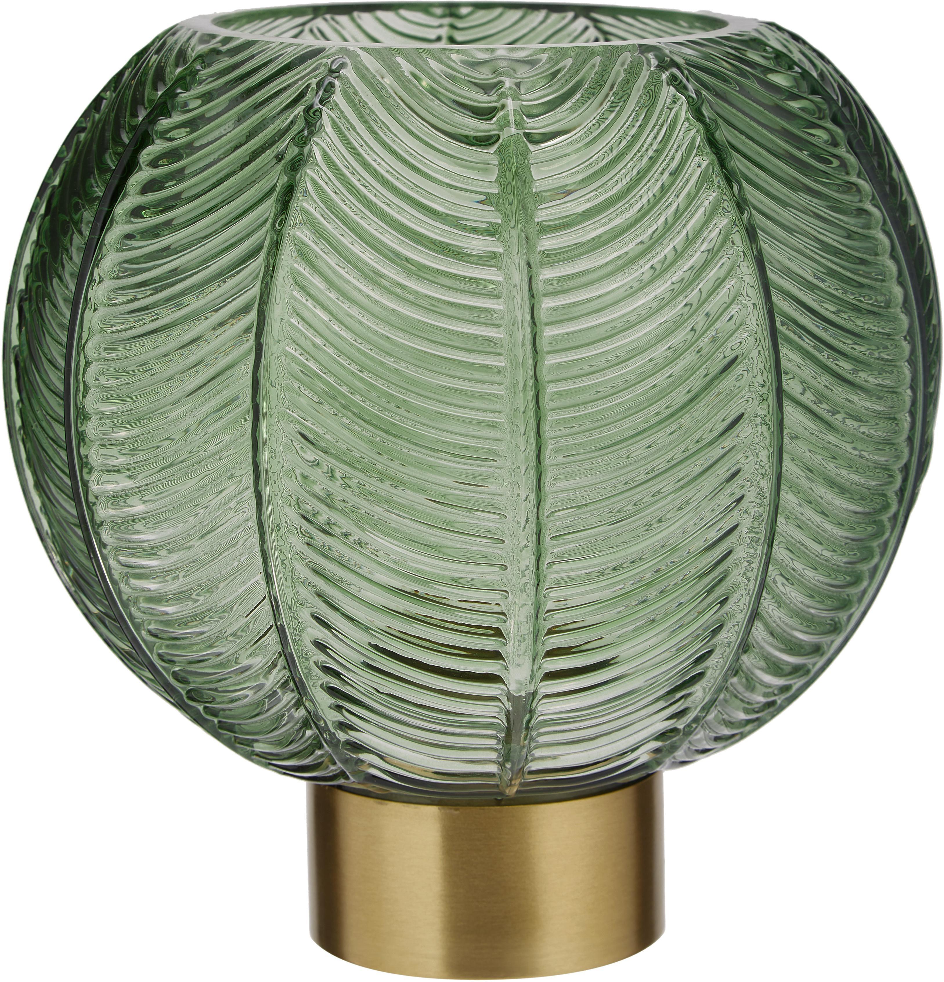 Jarrón de vidrio Mickey, Jarrón: vidrio, Jarrón: verde, transparente Base: latón, Ø 20 x Al 21 cm