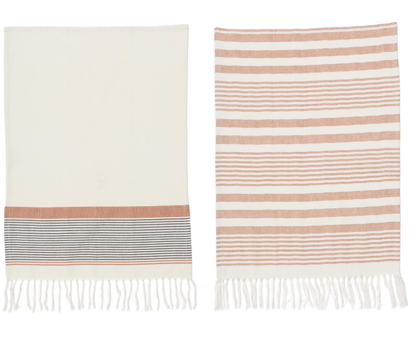 Canovaccio Rosaline con finitura a frange 2 pz, Cotone, Bianco, rosso, Larg. 50 x Lung. 70 cm