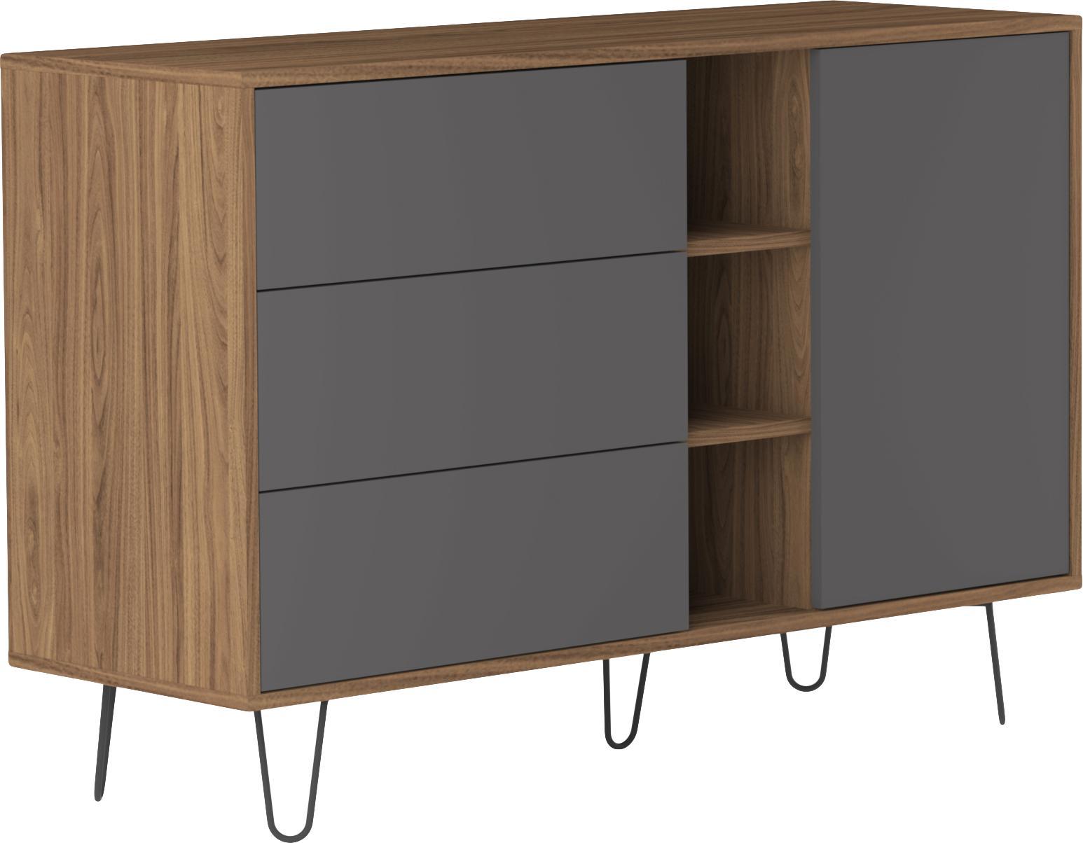 Design dressoir Aero met lades, Frame: melamine gecoate spaanpla, Poten: gelakt metaal, Walnootkleurig, grijs, 120 x 80 cm