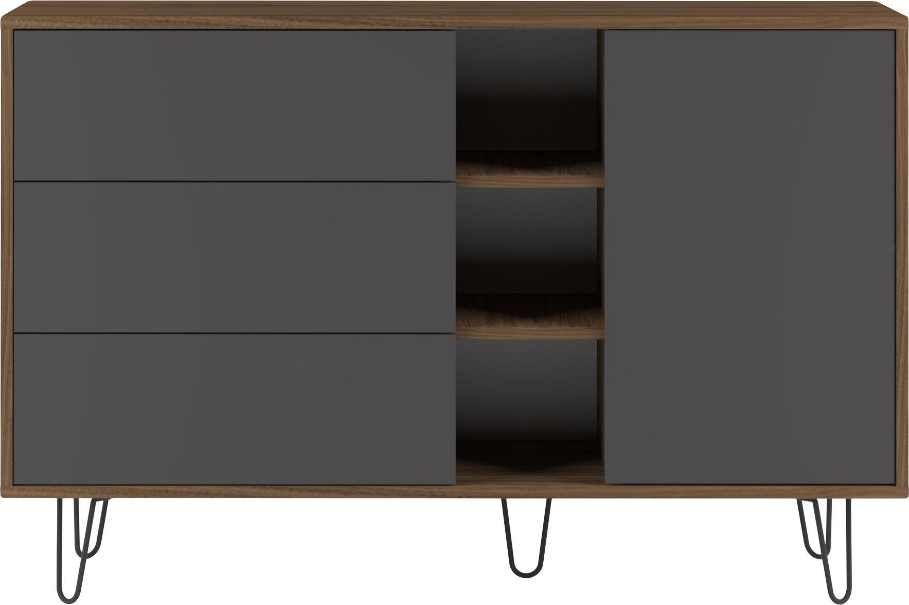 Design-Sideboard Aero mit Schubladen, Korpus: Spanplatte, melaminbeschi, Füße: Metall, lackiert, Walnussholz, Grau, 120 x 80 cm