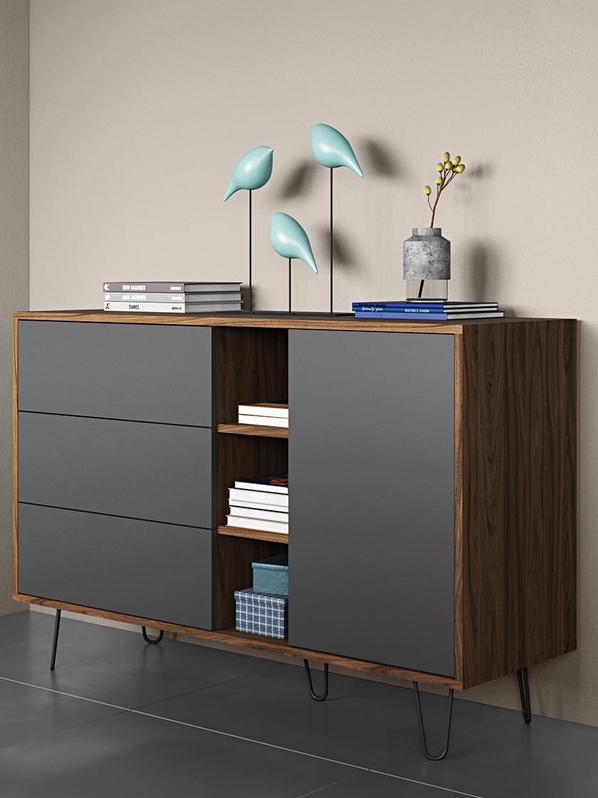 Credenza di design Aero, Piedini: metallo verniciato, Grigio, albero di noce, Larg. 120 x Alt. 80 cm