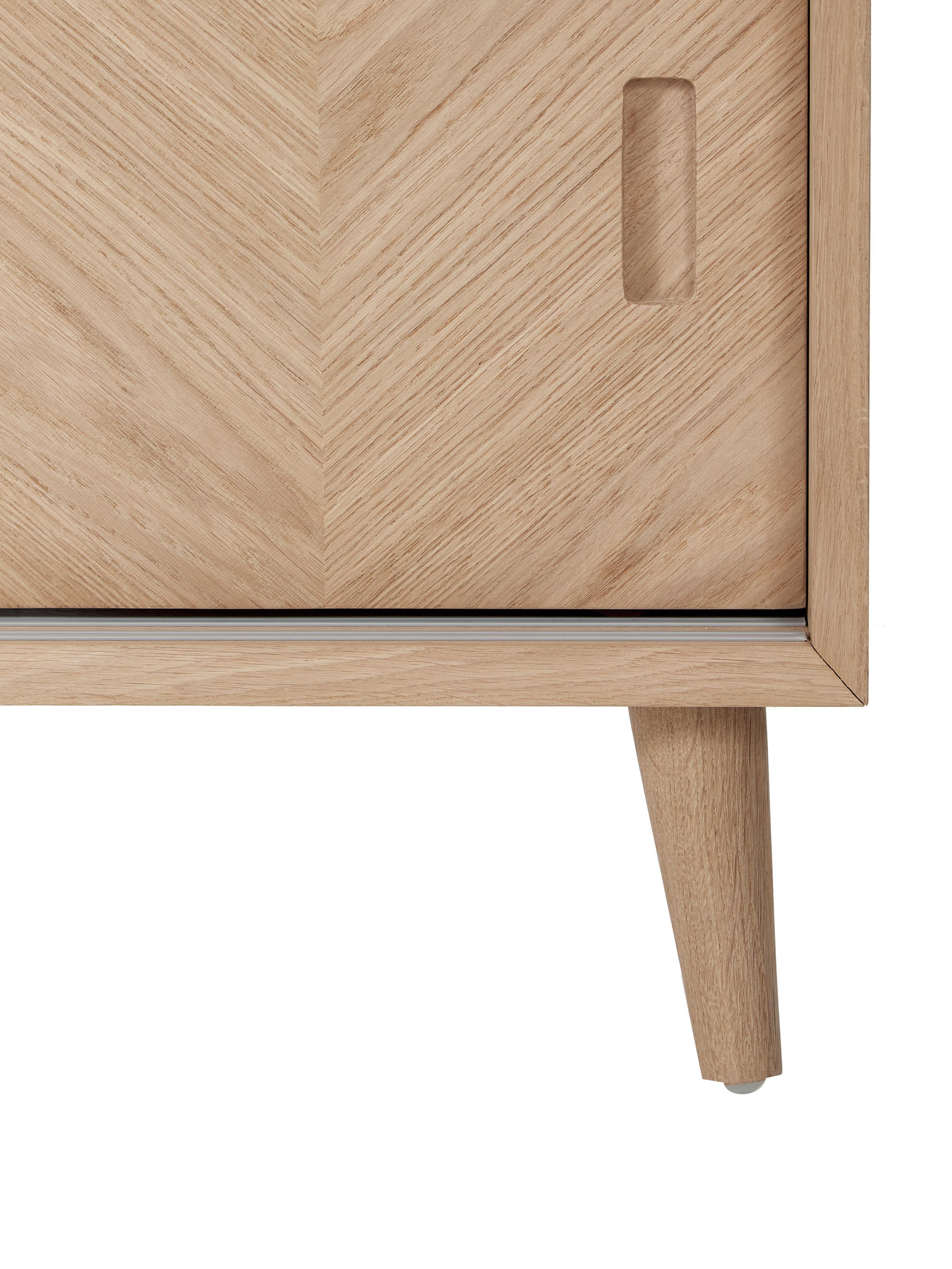 Mobile TV in legno di quercia Milano, Legno di quercia naturale, Legno di quercia, Larg. 140 x Alt. 50 cm