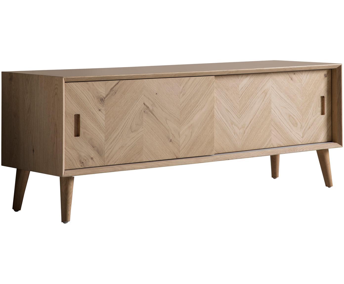 Tv-meubel Milano met visgraatpatroon, Natuurlijk eikenhout, Eikenhoutkleurig, 140 x 50 cm